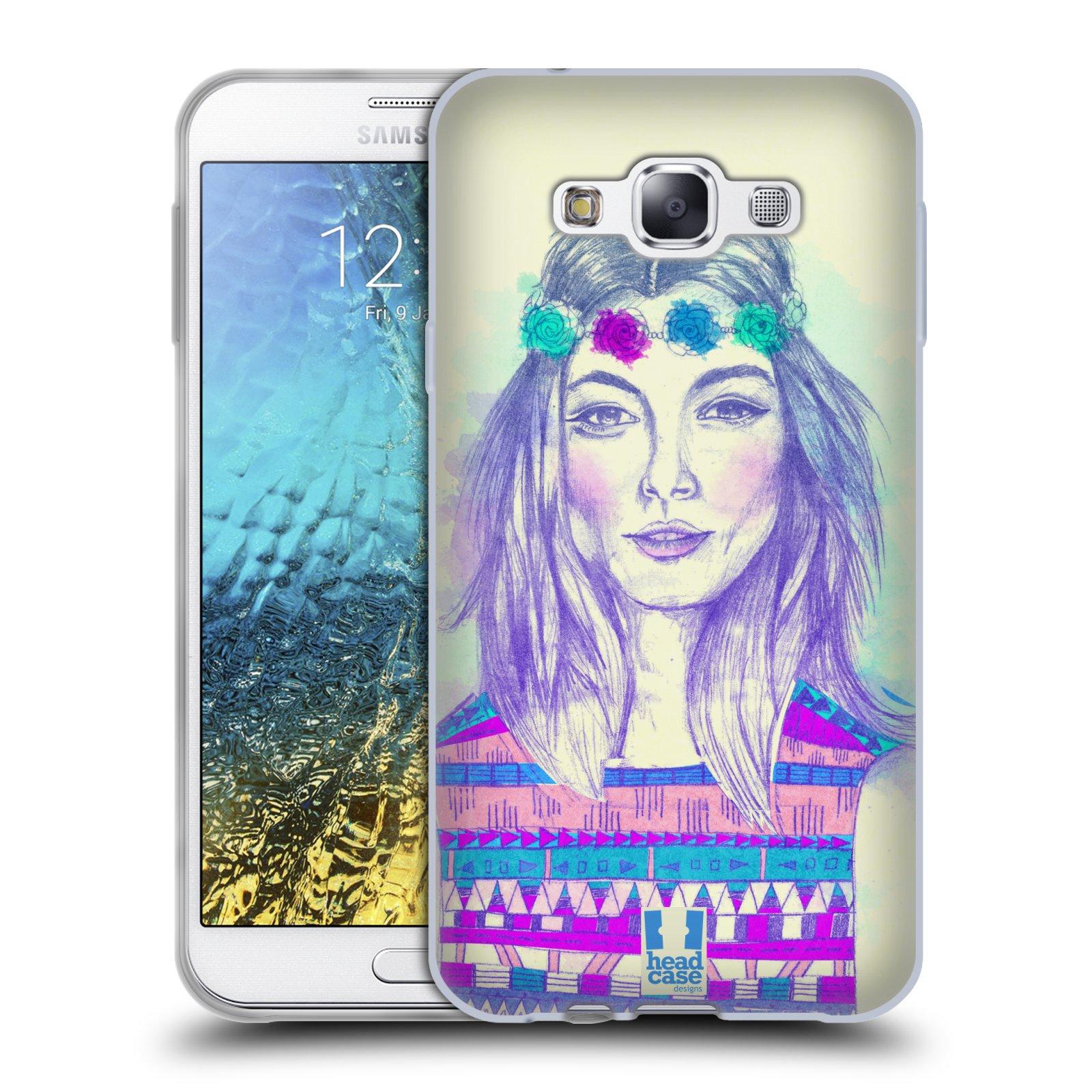 HEAD CASE silikonový obal na mobil Samsung Galaxy E7 vzor Dívka dlouhé květinové vlasy HIPPIE modrá