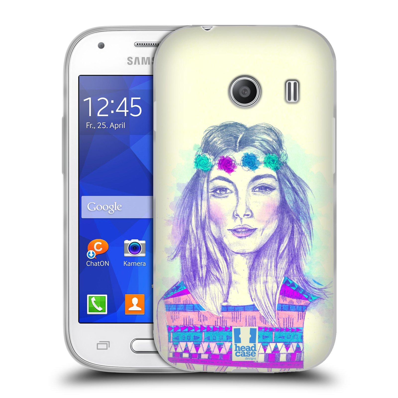 HEAD CASE silikonový obal na mobil Samsung Galaxy Ace Style (G310) vzor Dívka dlouhé květinové vlasy HIPPIE modrá