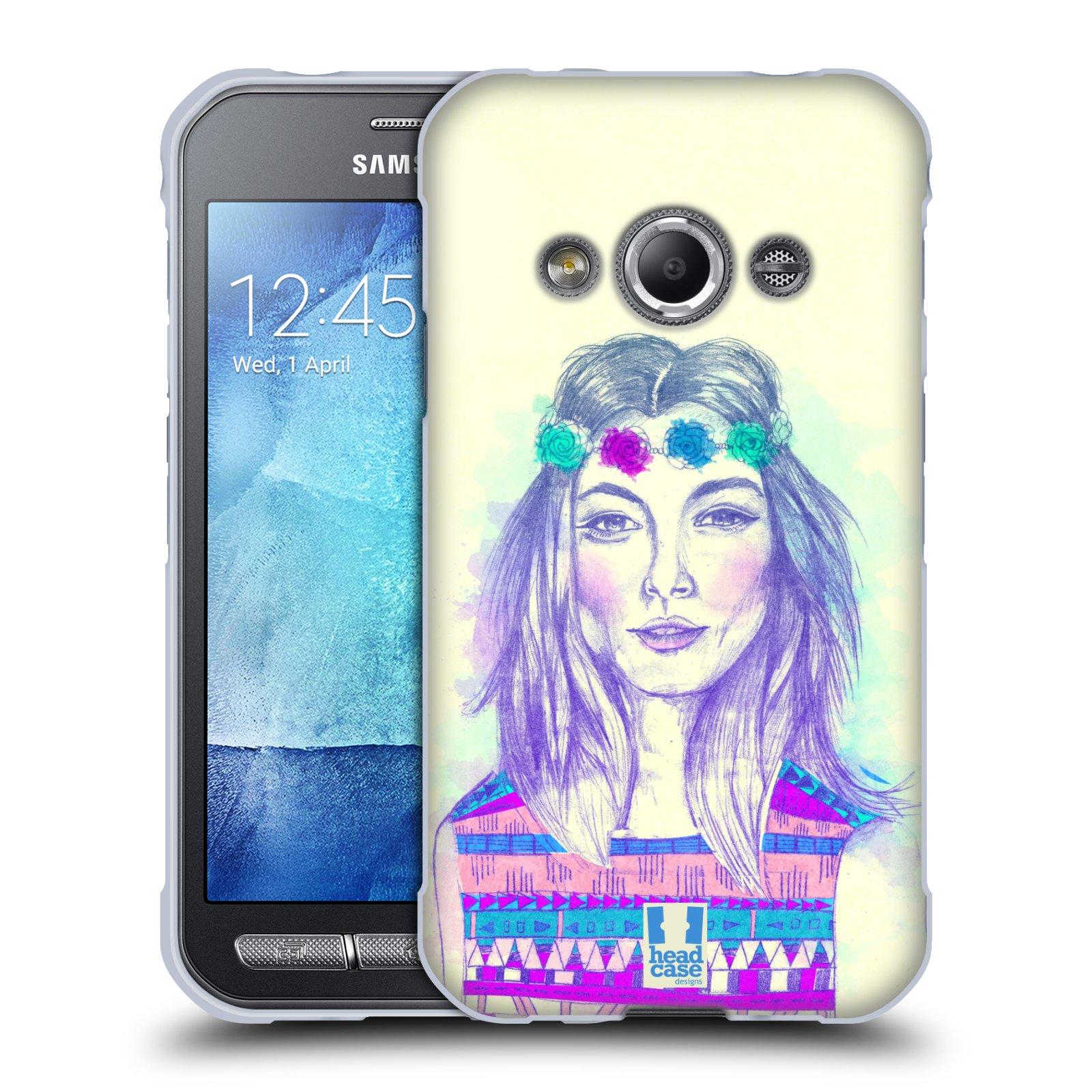 HEAD CASE silikonový obal na mobil Samsung Galaxy Xcover 3 vzor Dívka dlouhé květinové vlasy HIPPIE modrá