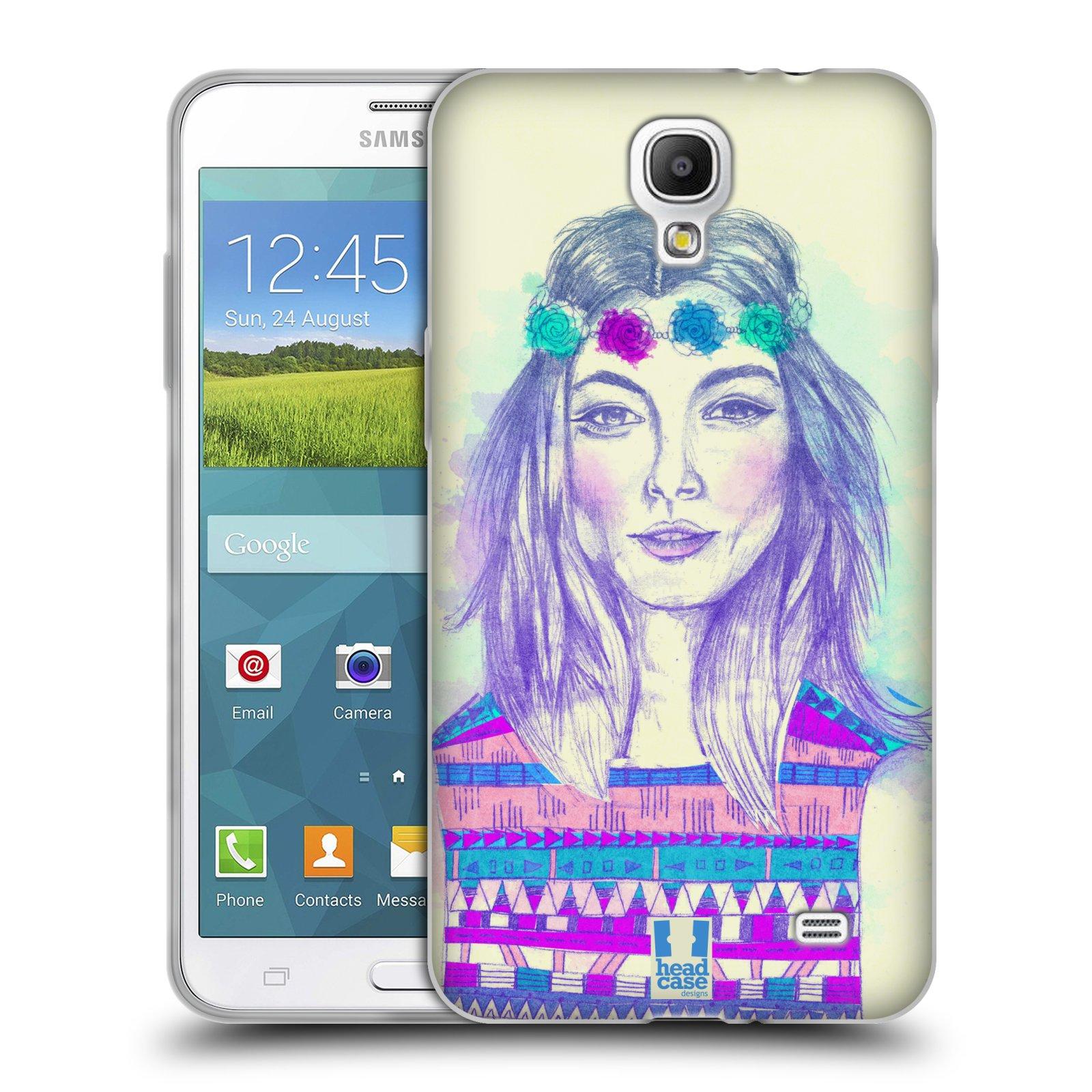 HEAD CASE silikonový obal na mobil Samsung Galaxy Mega 2 vzor Dívka dlouhé květinové vlasy HIPPIE modrá