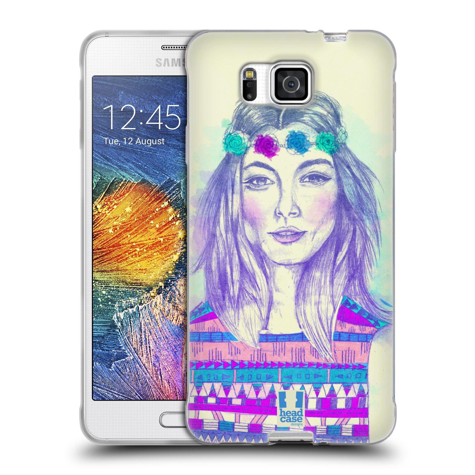 HEAD CASE silikonový obal na mobil Samsung Galaxy ALPHA vzor Dívka dlouhé květinové vlasy HIPPIE modrá