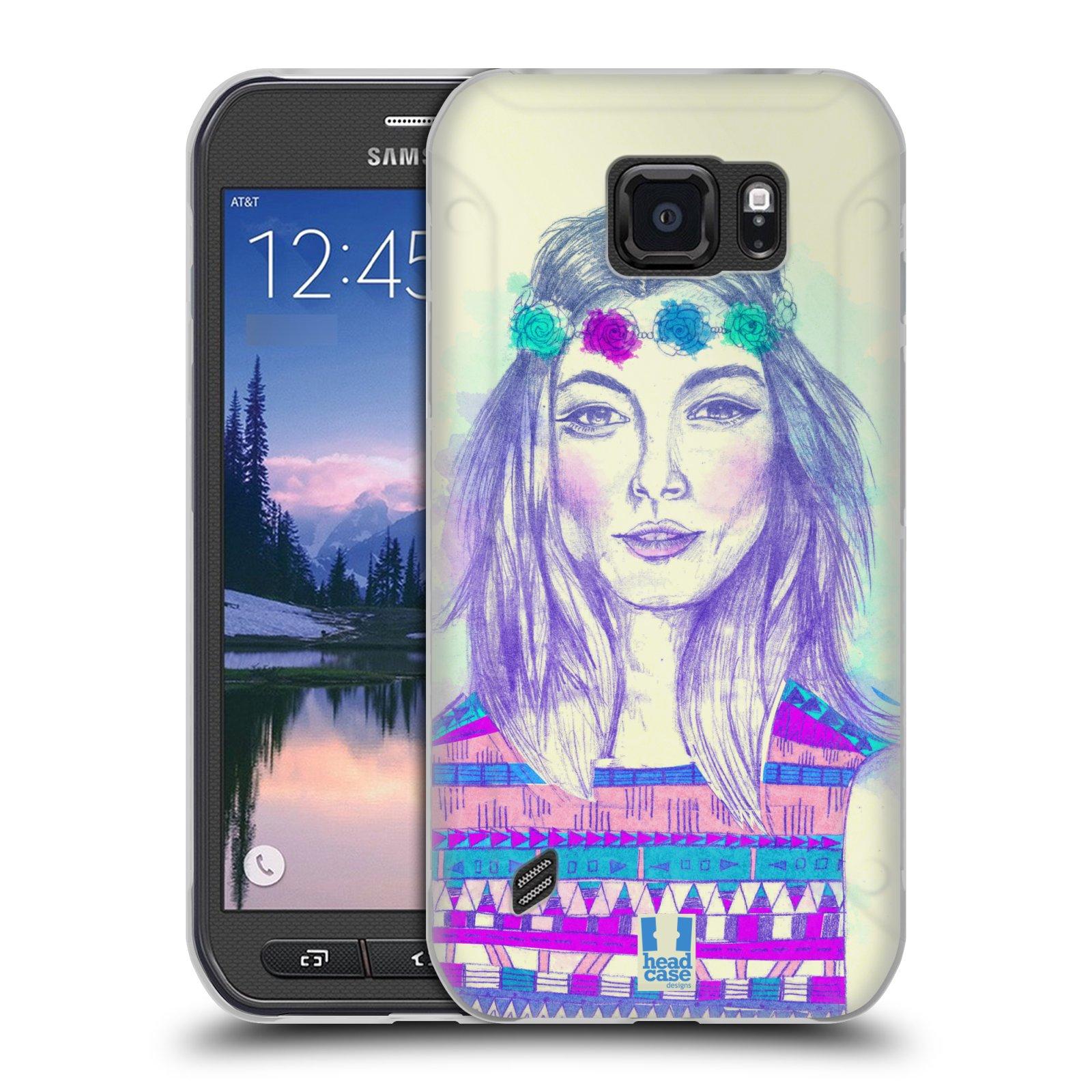 HEAD CASE silikonový obal na mobil Samsung Galaxy S6 ACTIVE vzor Dívka dlouhé květinové vlasy HIPPIE modrá