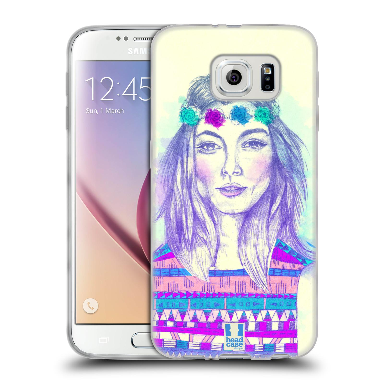 HEAD CASE silikonový obal na mobil Samsung Galaxy S6 vzor Dívka dlouhé květinové vlasy HIPPIE modrá