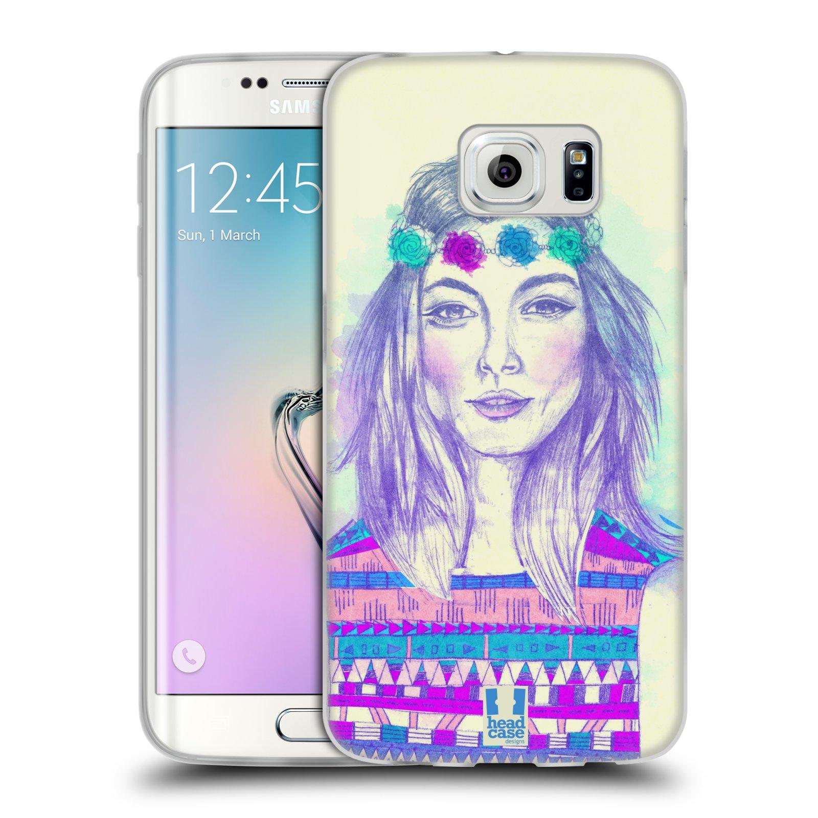 HEAD CASE silikonový obal na mobil Samsung Galaxy S6 EDGE vzor Dívka dlouhé květinové vlasy HIPPIE modrá