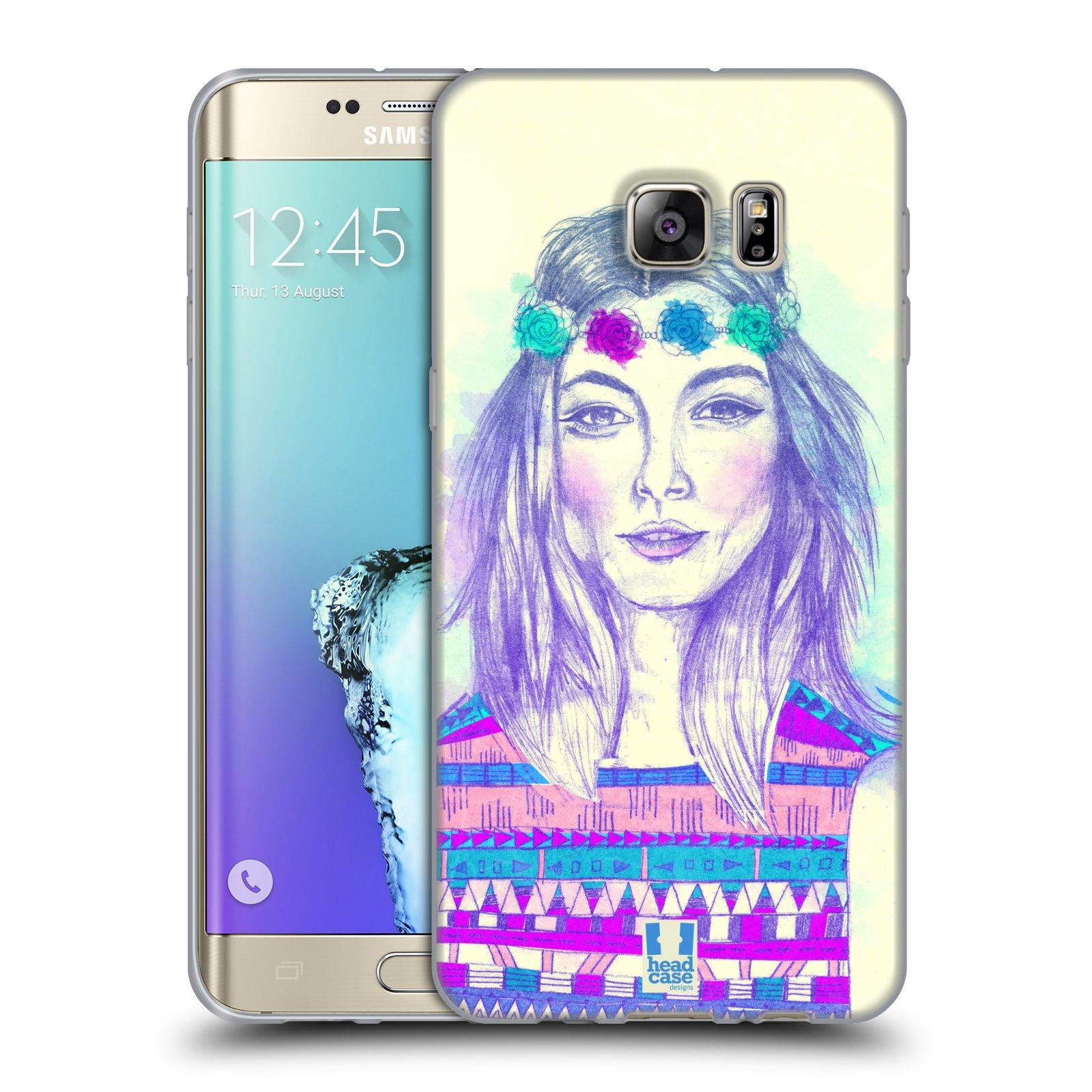 HEAD CASE silikonový obal na mobil Samsung Galaxy S6 EDGE PLUS vzor Dívka dlouhé květinové vlasy HIPPIE modrá