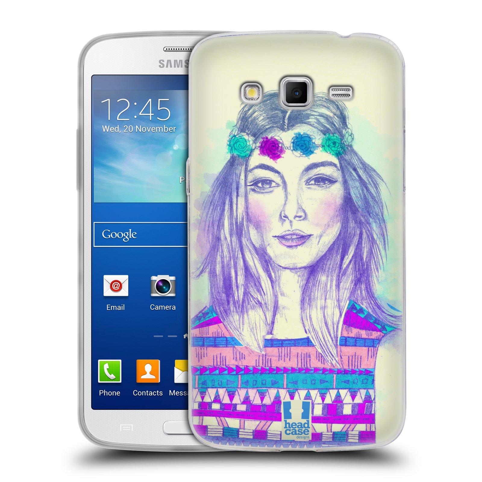 HEAD CASE silikonový obal na mobil Samsung Galaxy GRAND 2 vzor Dívka dlouhé květinové vlasy HIPPIE modrá