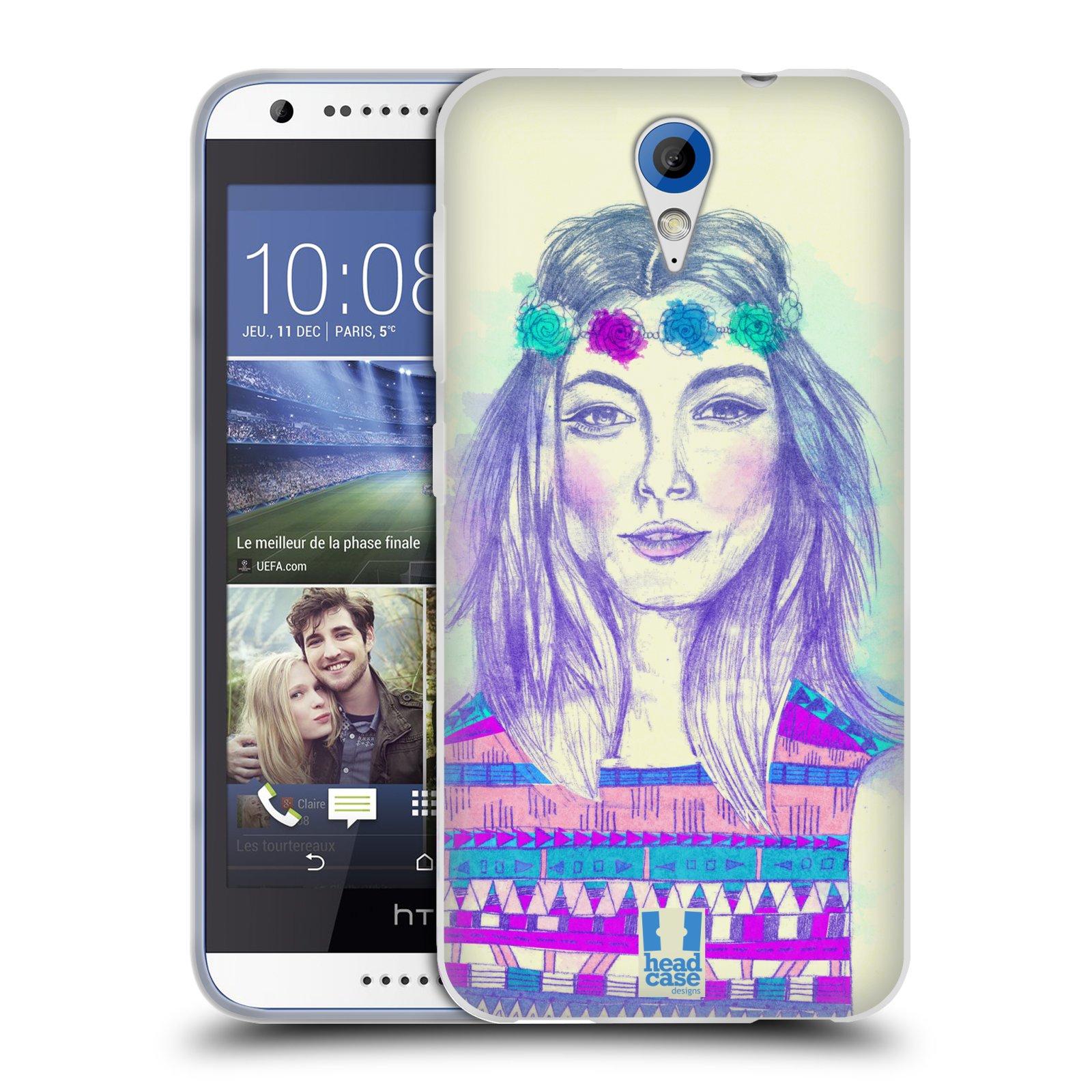 HEAD CASE silikonový obal na mobil HTC DESIRE 620 vzor Dívka dlouhé květinové vlasy HIPPIE modrá