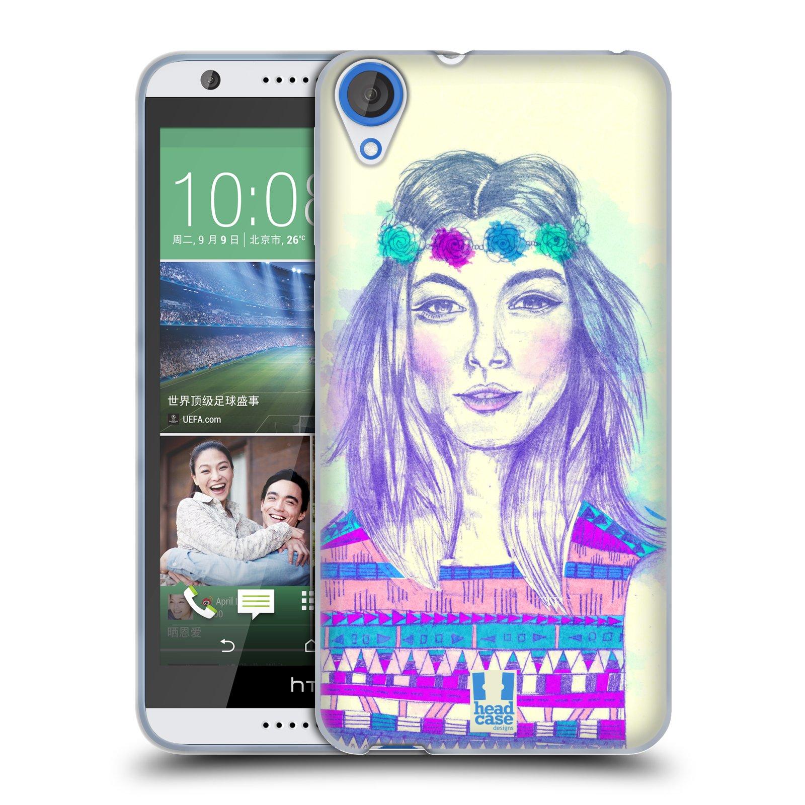 HEAD CASE silikonový obal na mobil HTC DESIRE 820 vzor Dívka dlouhé květinové vlasy HIPPIE modrá