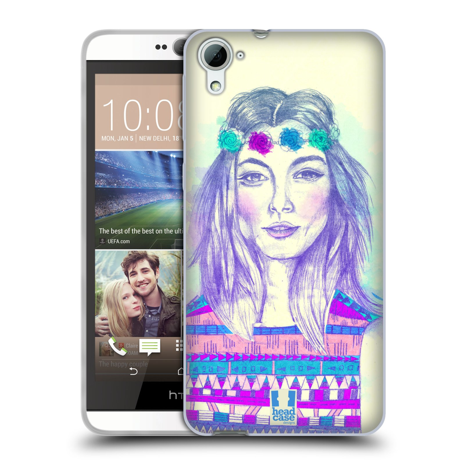 HEAD CASE silikonový obal na mobil HTC DESIRE 826 vzor Dívka dlouhé květinové vlasy HIPPIE modrá