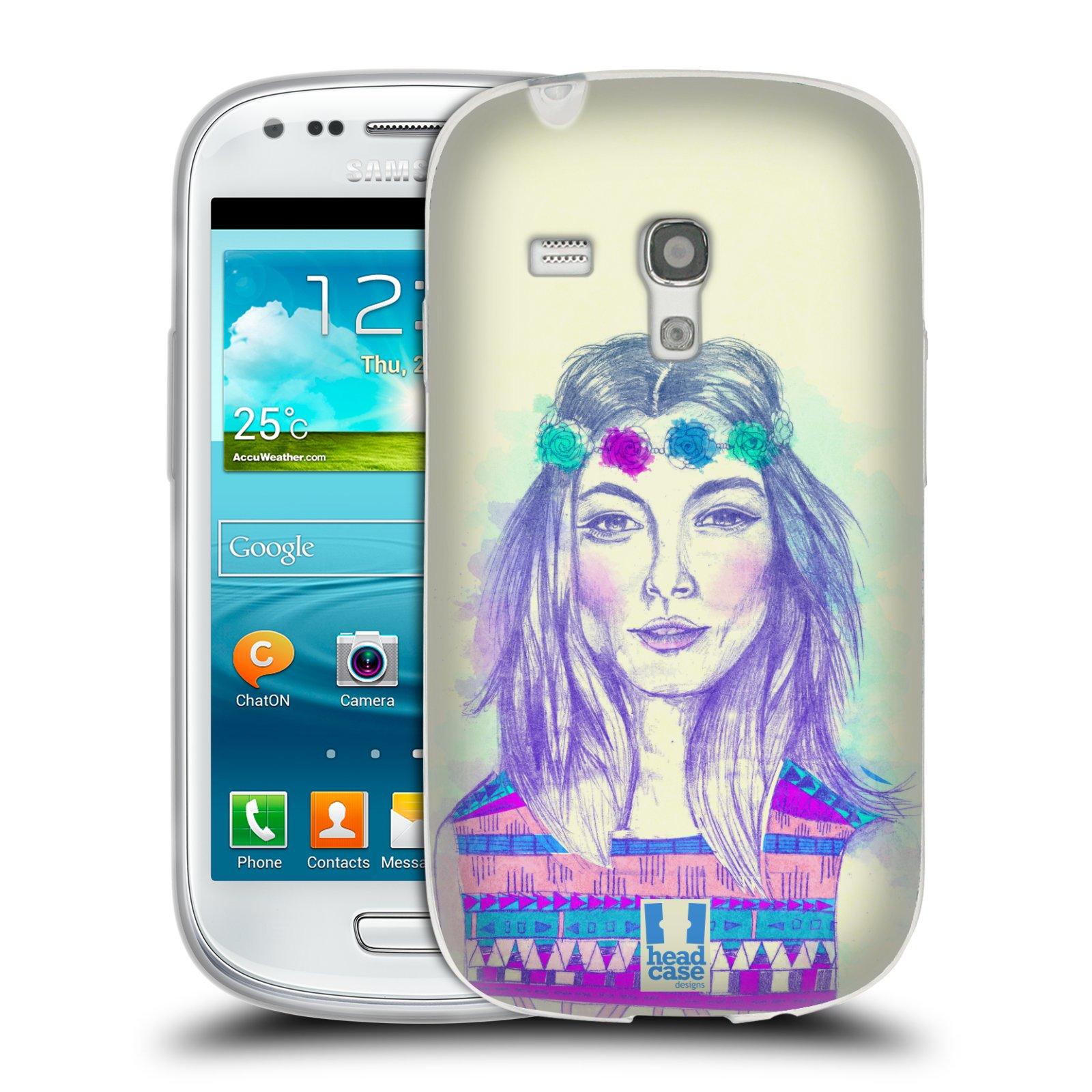 HEAD CASE silikonový obal na mobil Samsung Galaxy S3 MINI i8190 vzor Dívka dlouhé květinové vlasy HIPPIE modrá