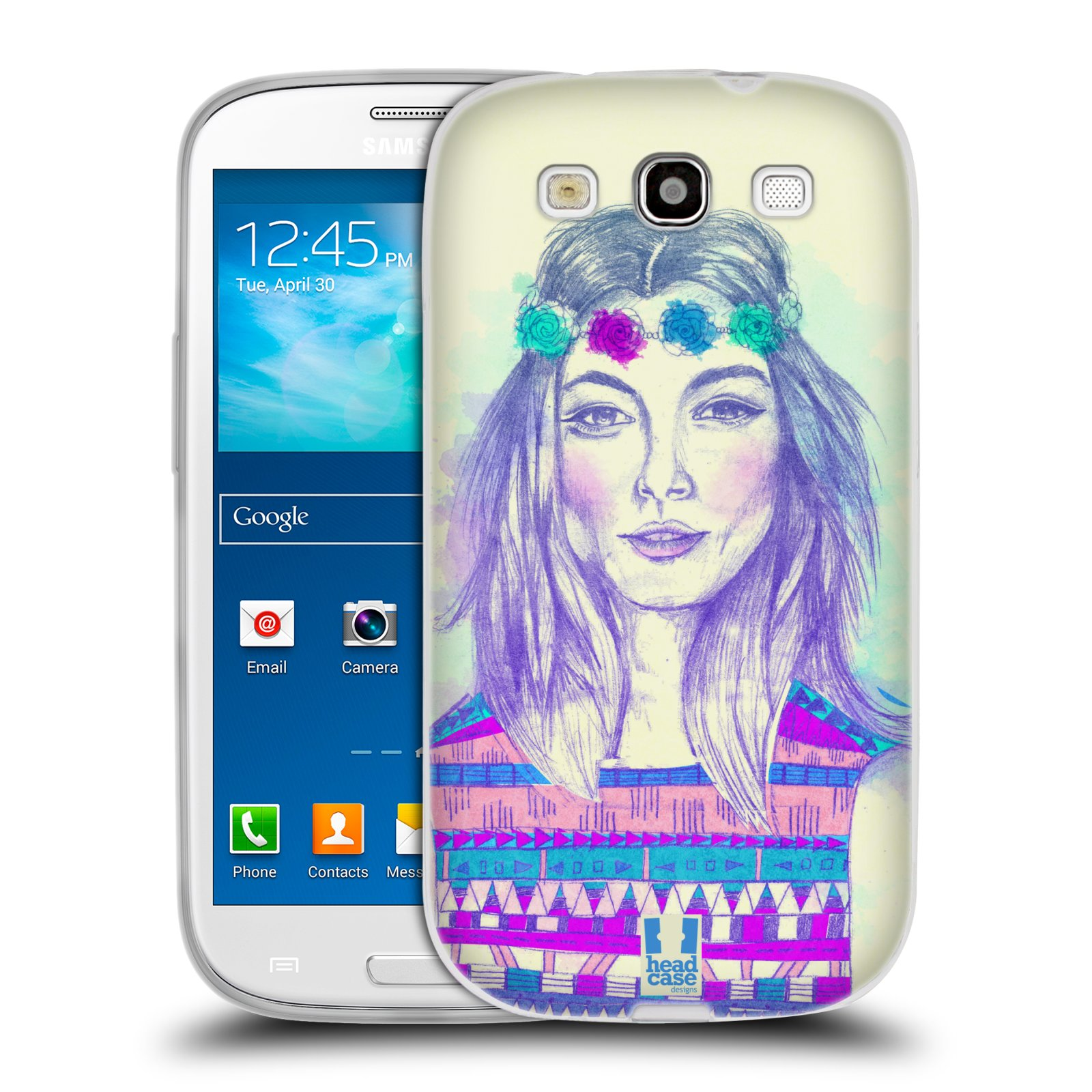 HEAD CASE silikonový obal na mobil Samsung Galaxy S3 i9300 vzor Dívka dlouhé květinové vlasy HIPPIE modrá