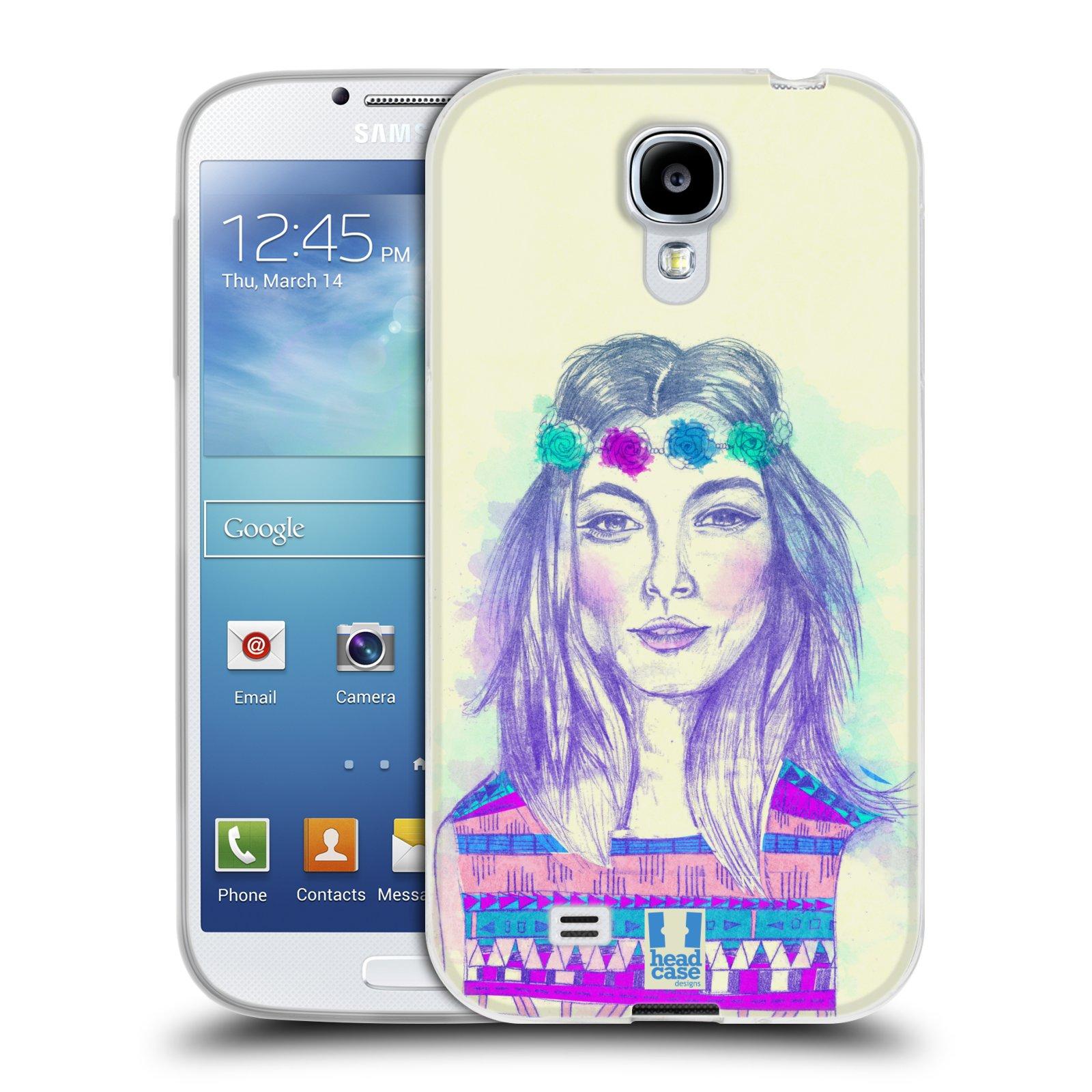 HEAD CASE silikonový obal na mobil Samsung Galaxy S4 i9500 vzor Dívka dlouhé květinové vlasy HIPPIE modrá