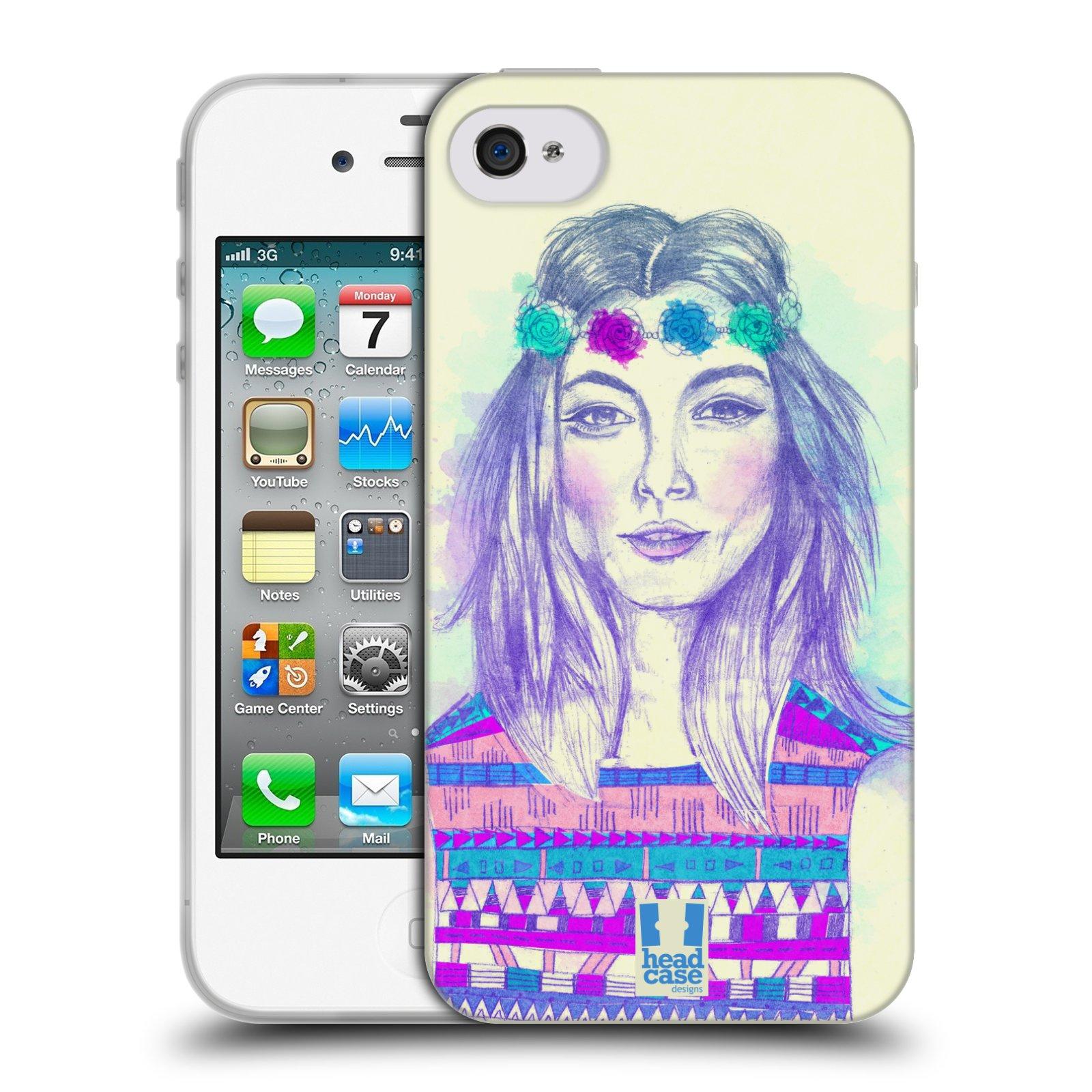 HEAD CASE silikonový obal na mobil Apple Iphone 4/4S vzor Dívka dlouhé květinové vlasy HIPPIE modrá