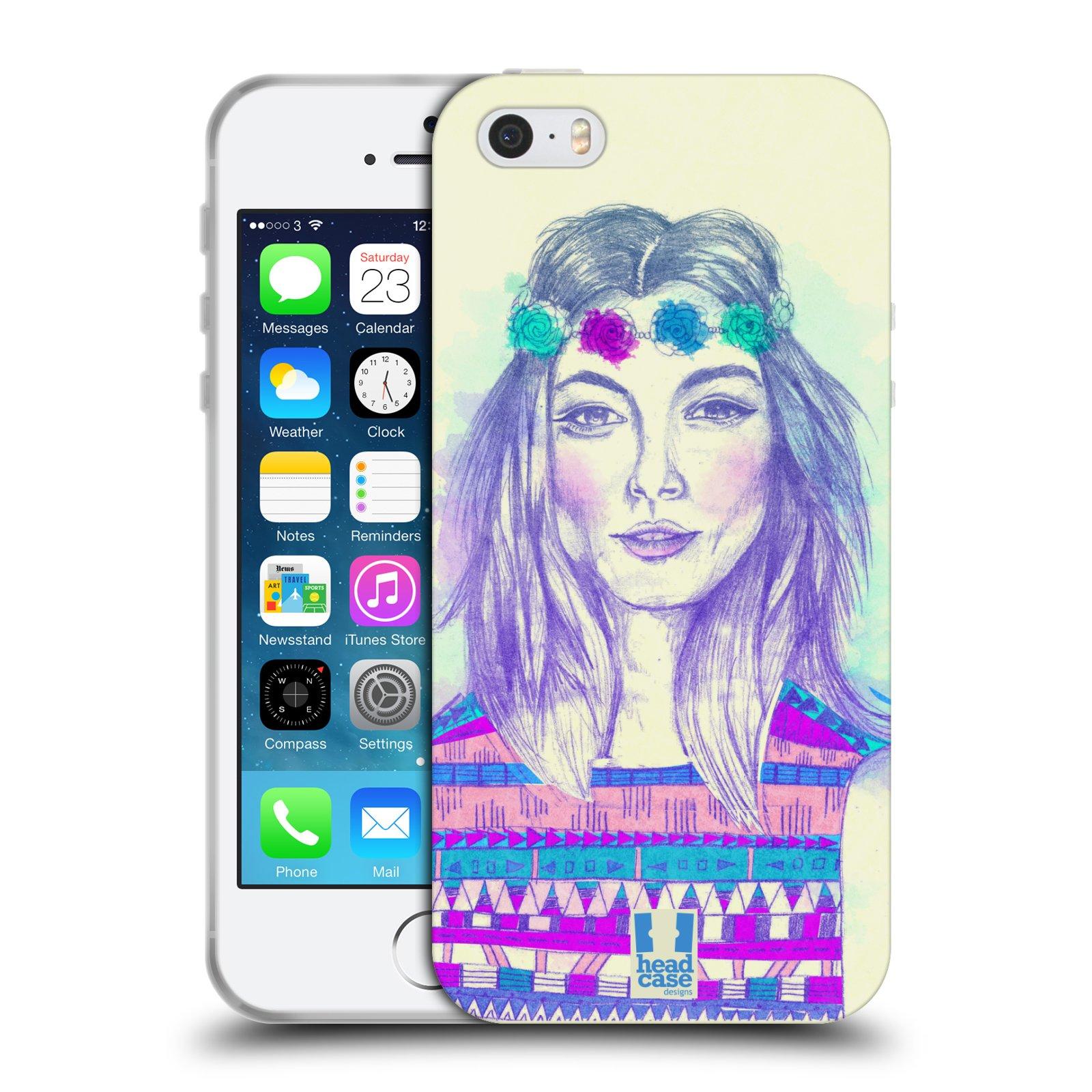 HEAD CASE silikonový obal na mobil Apple Iphone 5/5S vzor Dívka dlouhé květinové vlasy HIPPIE modrá