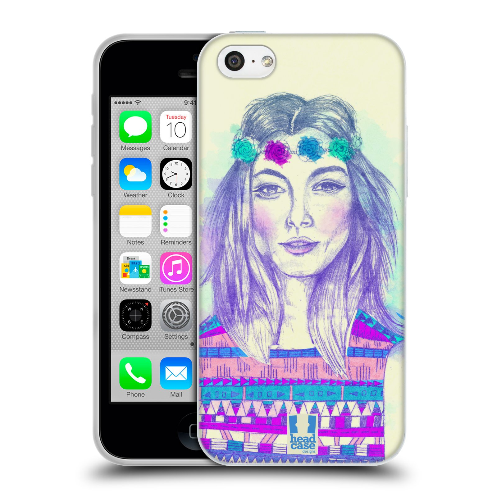 HEAD CASE silikonový obal na mobil Apple Iphone 5C vzor Dívka dlouhé květinové vlasy HIPPIE modrá