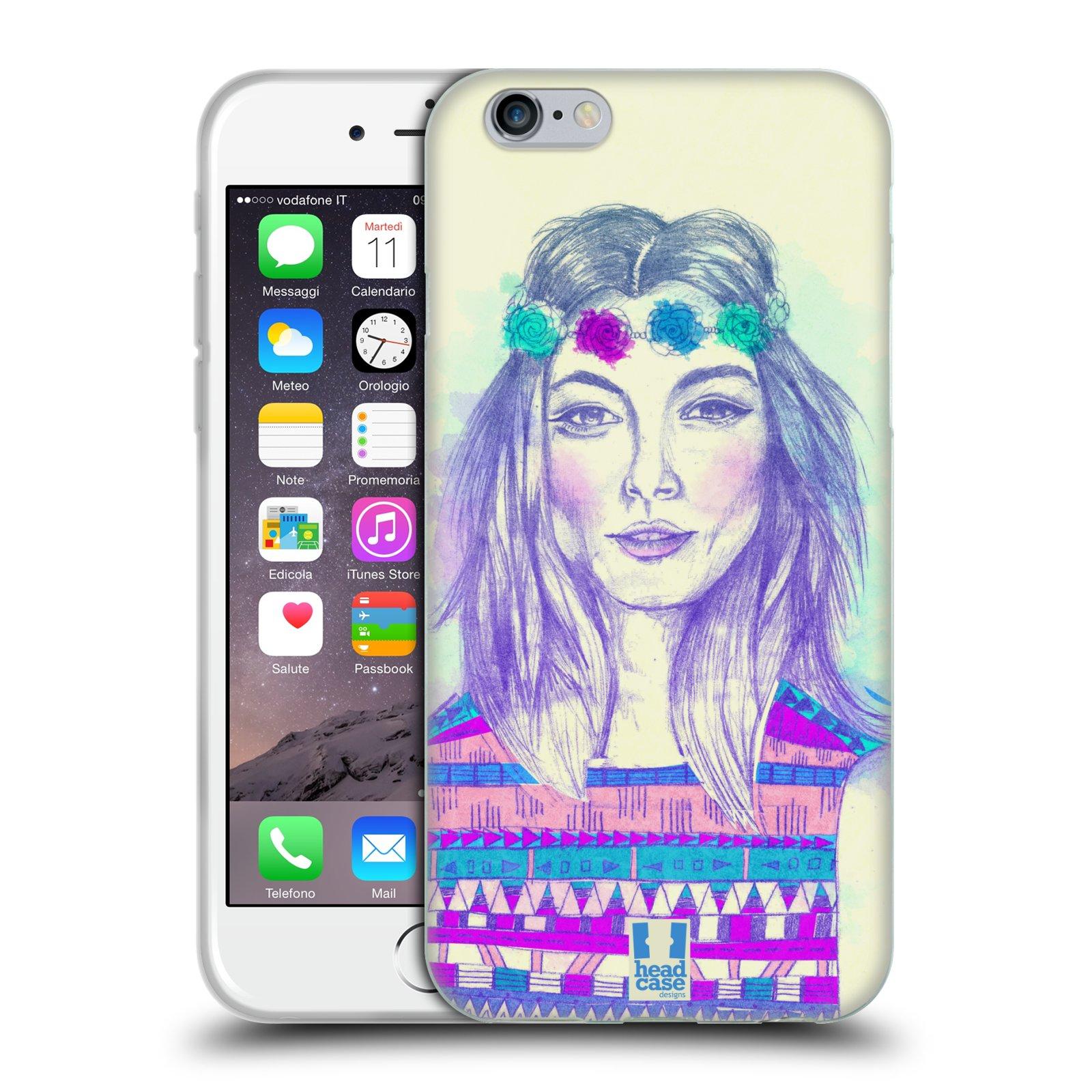 HEAD CASE silikonový obal na mobil Apple Iphone 6/6S vzor Dívka dlouhé květinové vlasy HIPPIE modrá