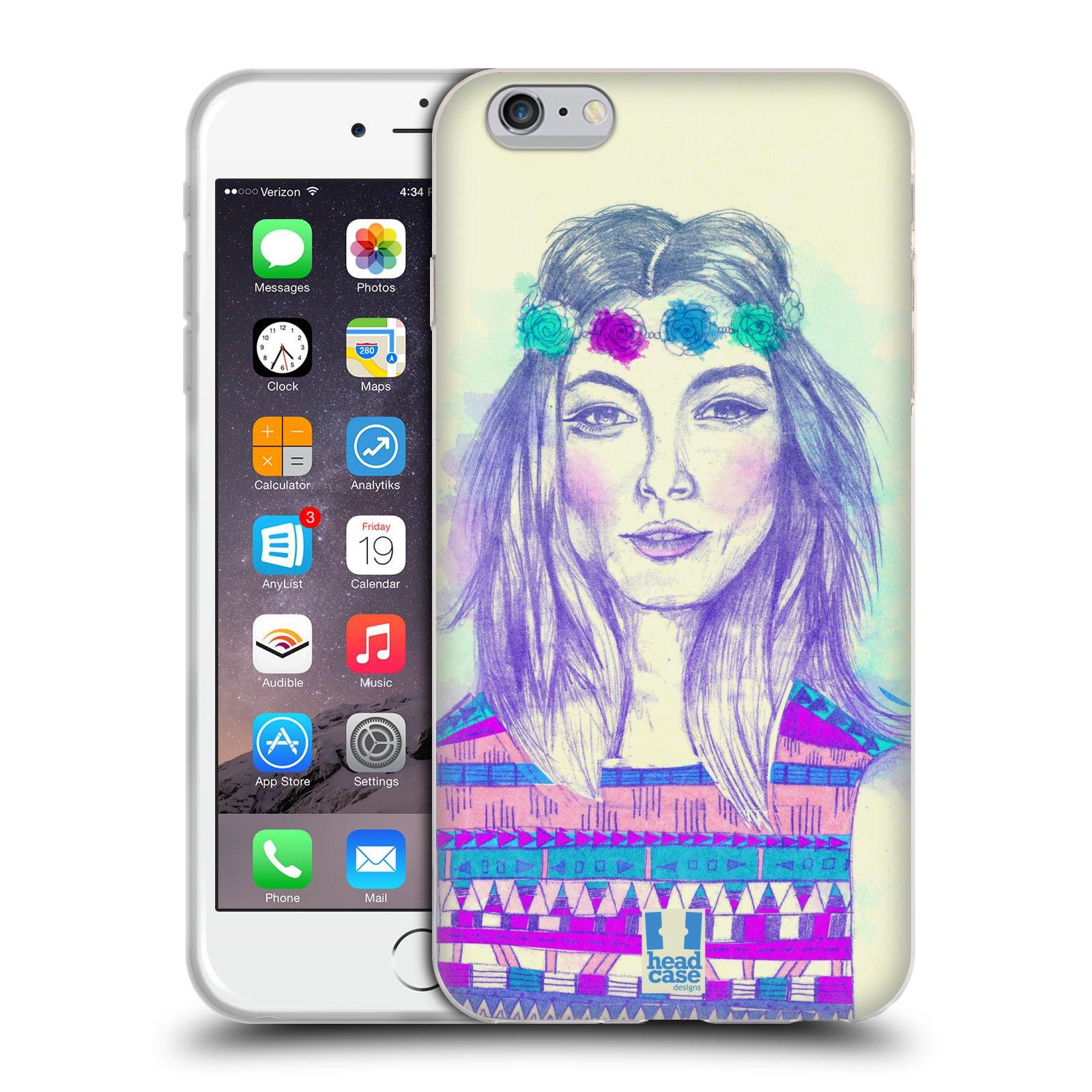 HEAD CASE silikonový obal na mobil Apple Iphone 6 PLUS/ 6S PLUS vzor Dívka dlouhé květinové vlasy HIPPIE modrá
