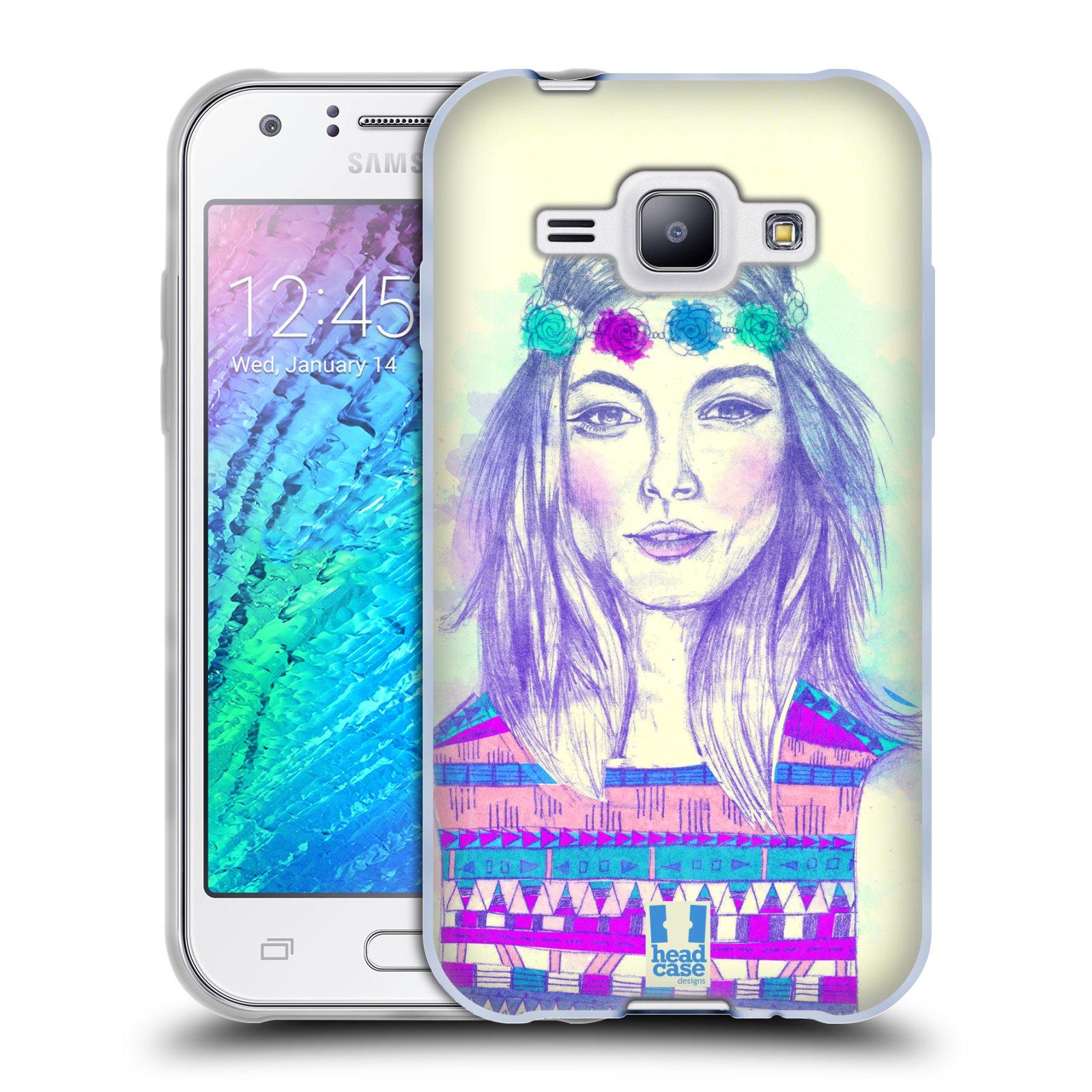 HEAD CASE silikonový obal na mobil Samsung Galaxy J1 vzor Dívka dlouhé květinové vlasy HIPPIE modrá