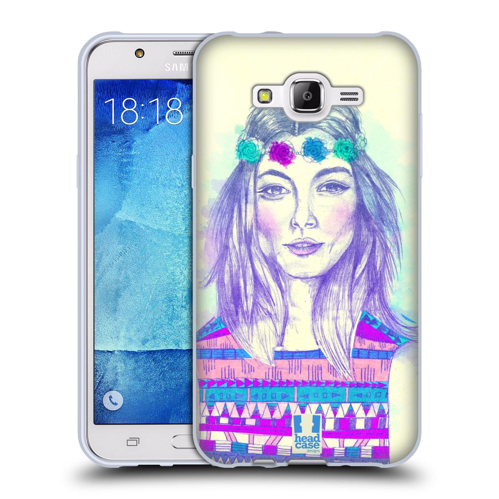 HEAD CASE silikonový obal na mobil Samsung Galaxy J7 vzor Dívka dlouhé květinové vlasy HIPPIE modrá