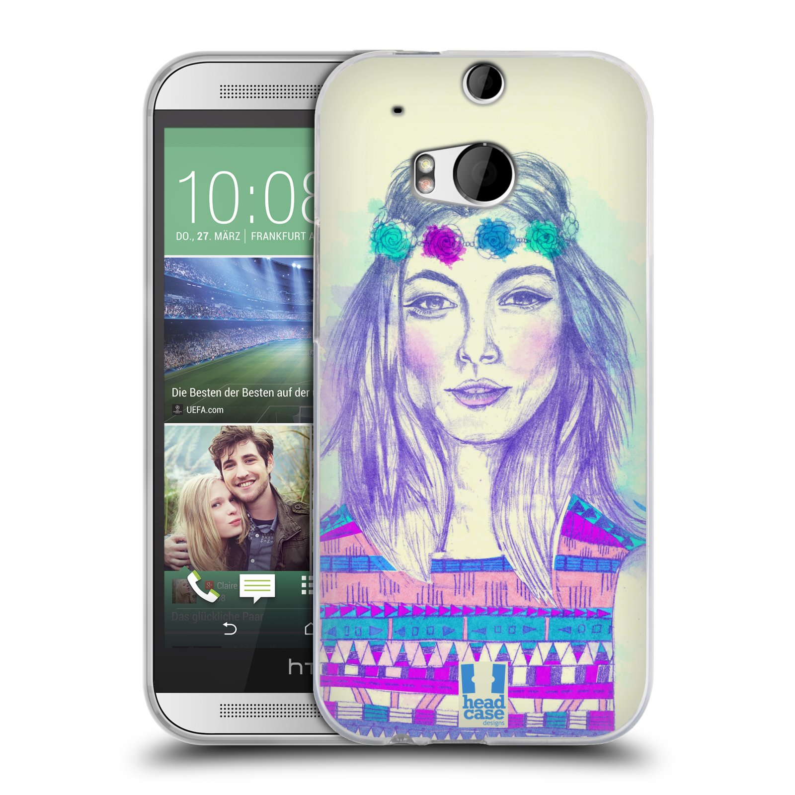 HEAD CASE silikonový obal na mobil HTC ONE (M8) vzor Dívka dlouhé květinové vlasy HIPPIE modrá