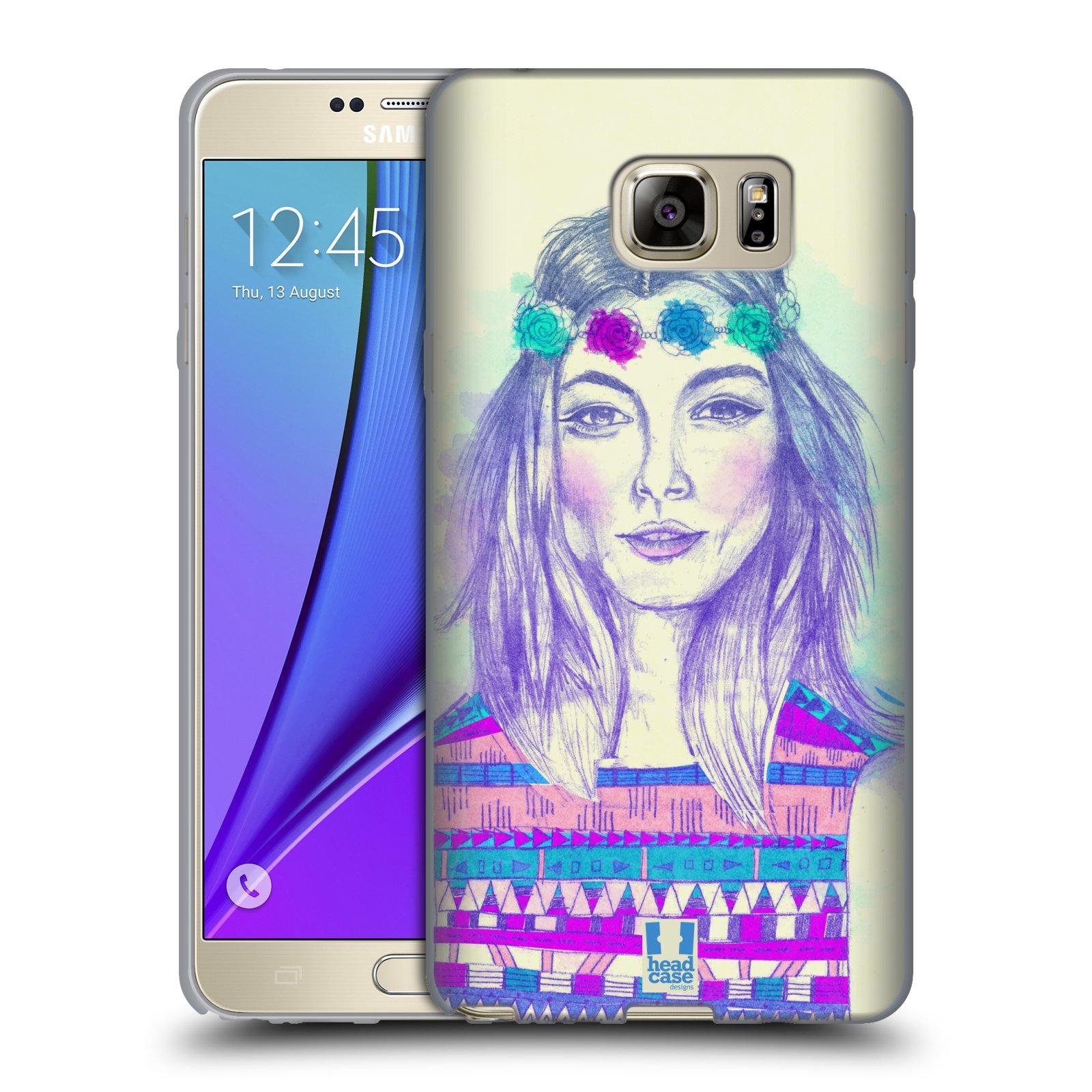 HEAD CASE silikonový obal na mobil Samsung Galaxy Note 5 (N920) vzor Dívka dlouhé květinové vlasy HIPPIE modrá