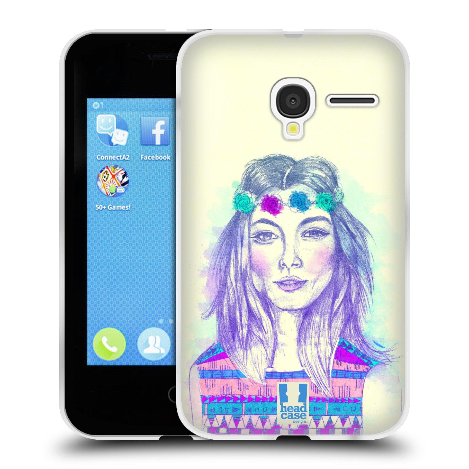 HEAD CASE silikonový obal na mobil Alcatel PIXI 3 OT-4022D (3,5 palcový displej) vzor Dívka dlouhé květinové vlasy HIPPIE modrá