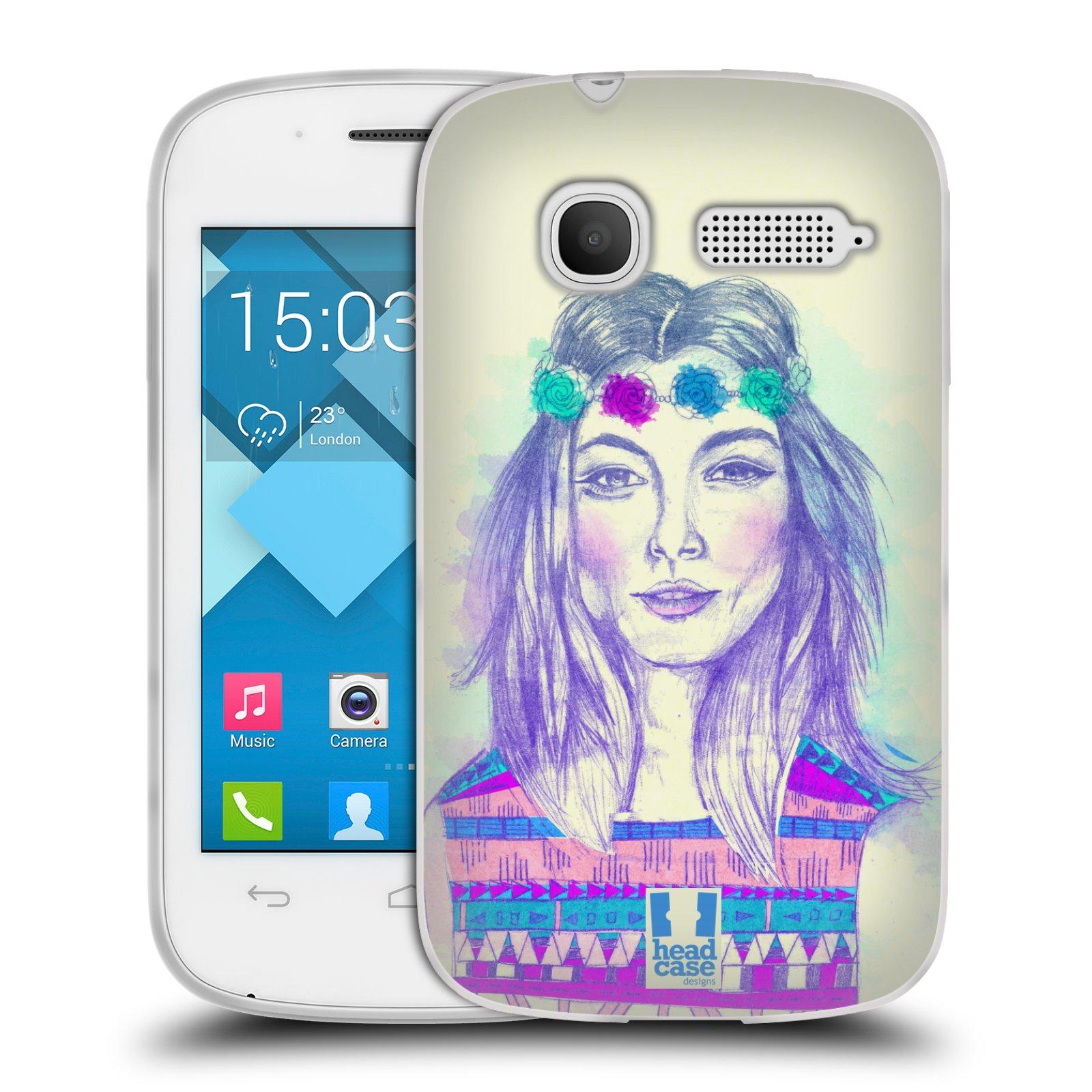 HEAD CASE silikonový obal na mobil Alcatel POP C1 OT-4015D vzor Dívka dlouhé květinové vlasy HIPPIE modrá
