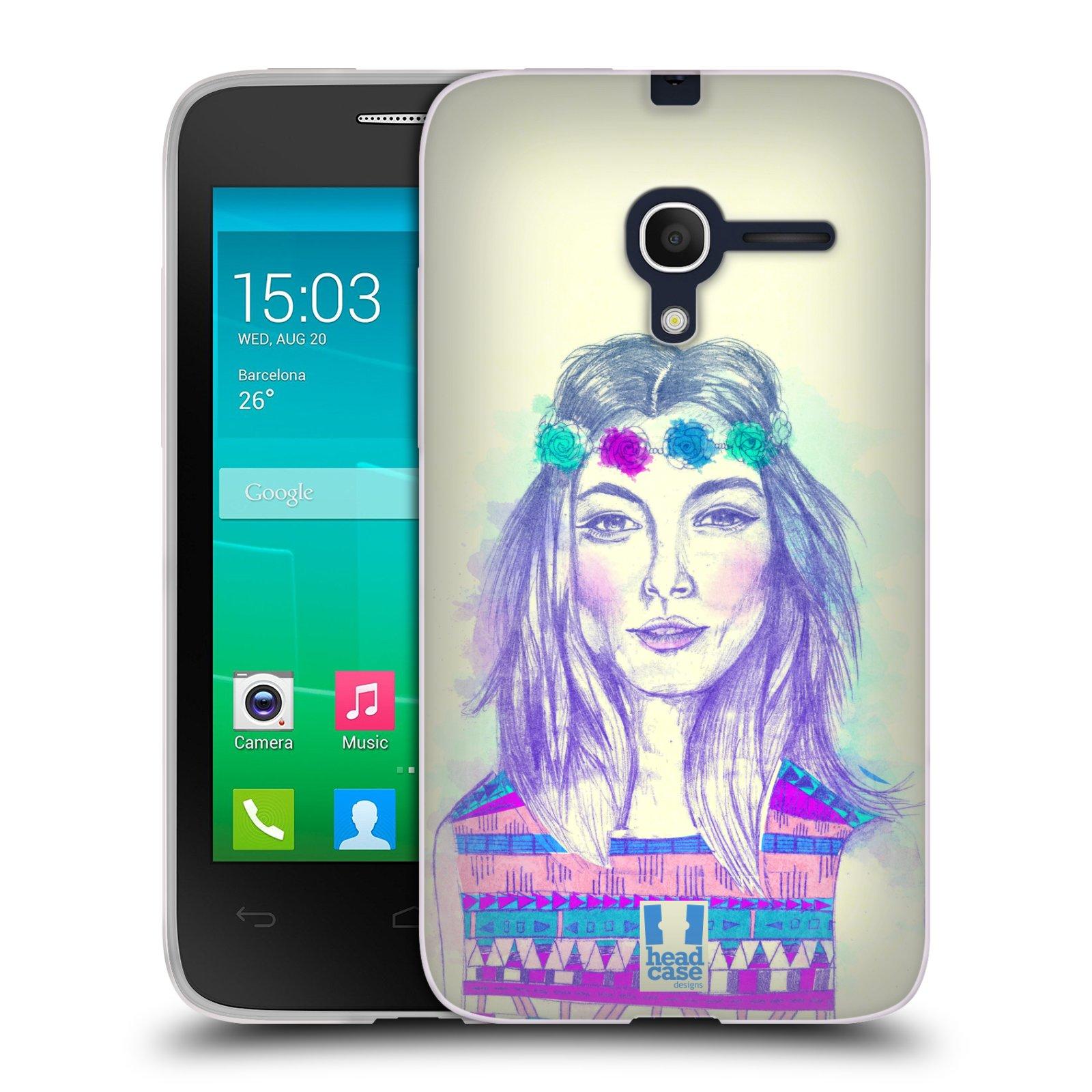 HEAD CASE silikonový obal na mobil Alcatel POP D3 OT-4035D vzor Dívka dlouhé květinové vlasy HIPPIE modrá
