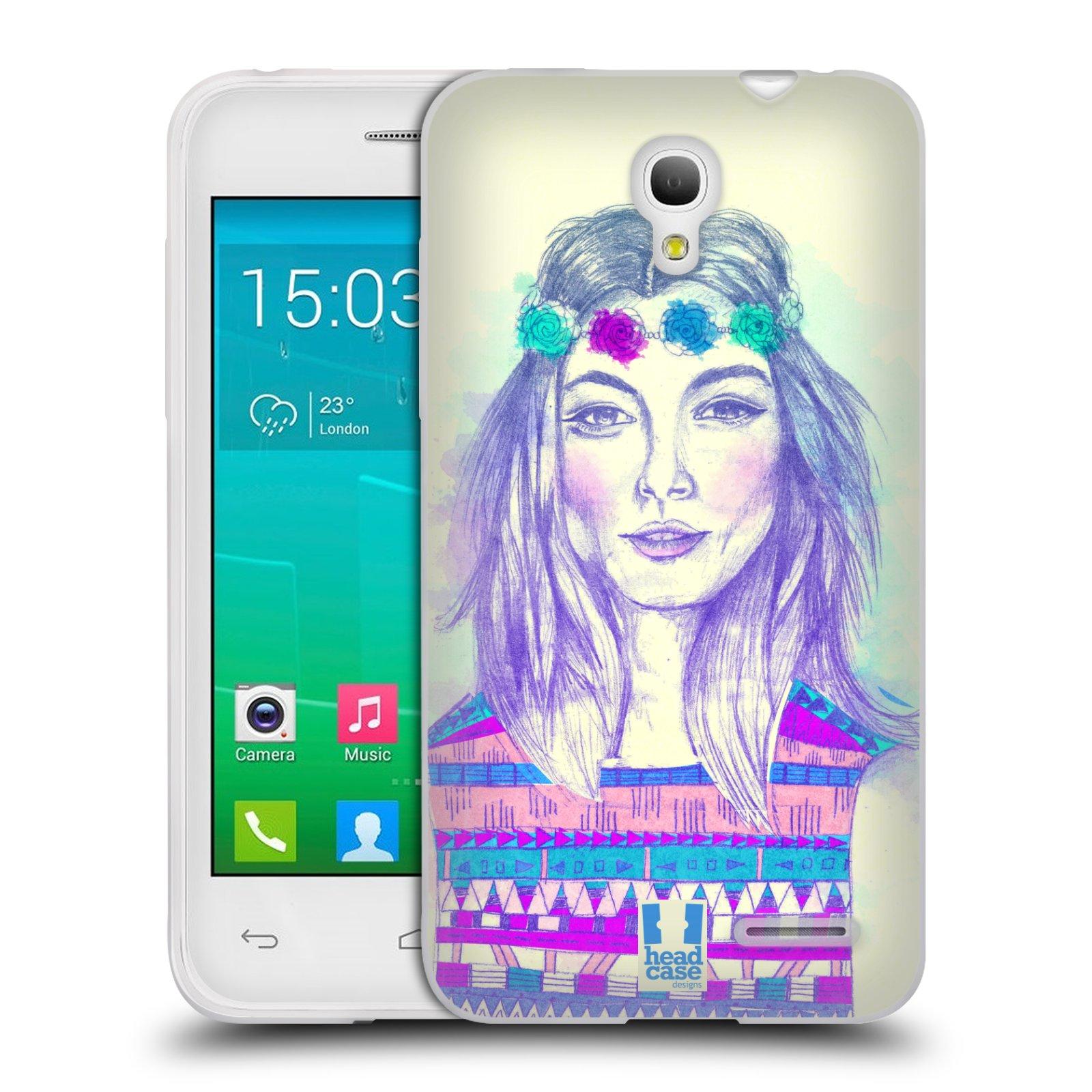 HEAD CASE silikonový obal na mobil Alcatel POP S3 OT-5050Y vzor Dívka dlouhé květinové vlasy HIPPIE modrá