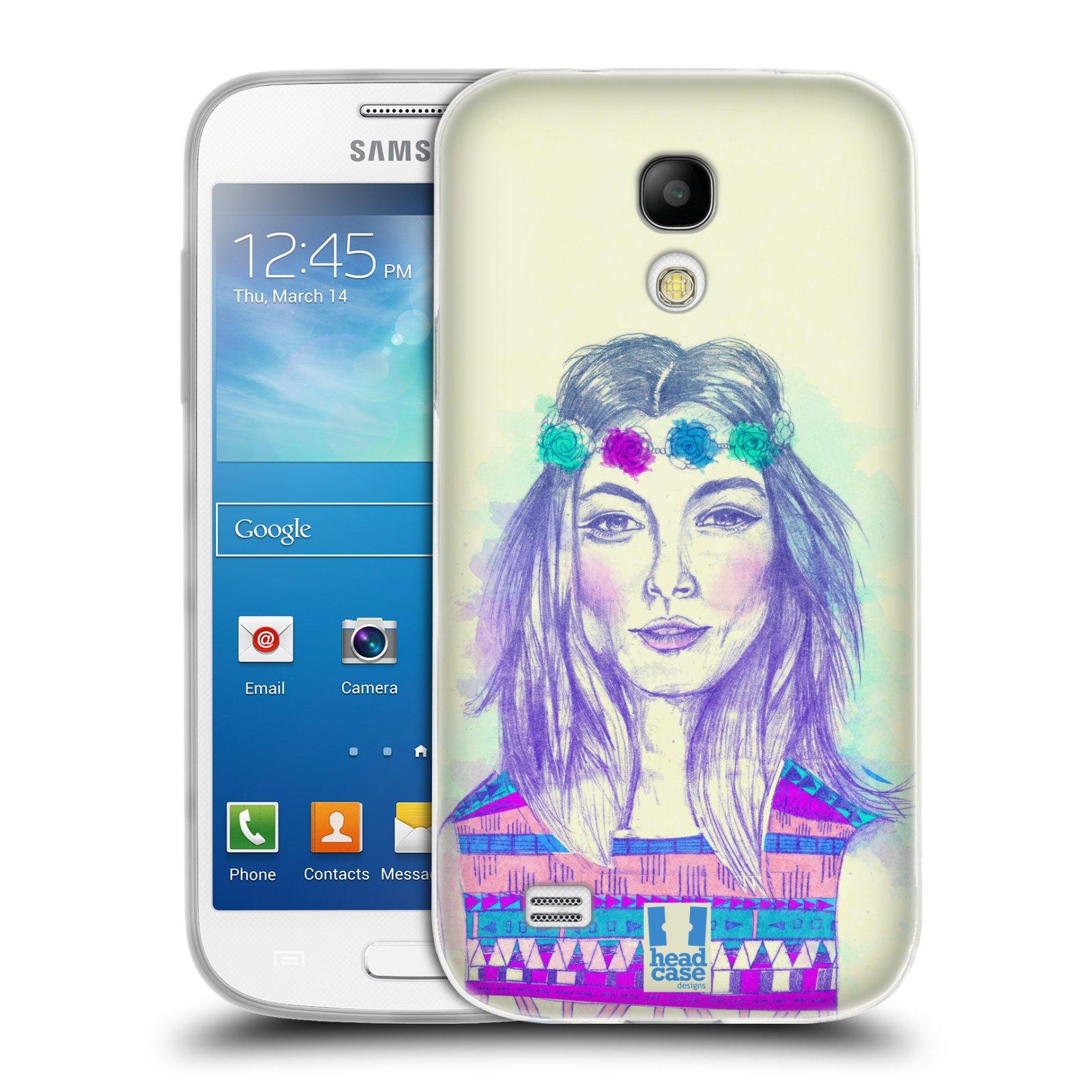 HEAD CASE silikonový obal na mobil Samsung Galaxy S4 MINI vzor Dívka dlouhé květinové vlasy HIPPIE modrá
