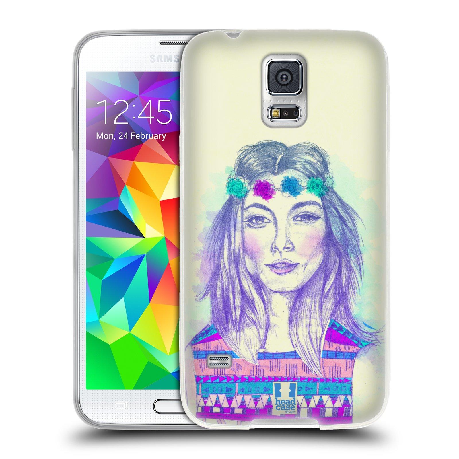 HEAD CASE silikonový obal na mobil Samsung Galaxy S5/S5 NEO vzor Dívka dlouhé květinové vlasy HIPPIE modrá