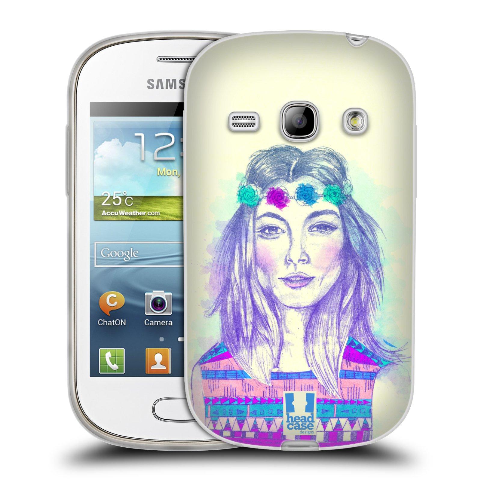 HEAD CASE silikonový obal na mobil Samsung Galaxy FAME vzor Dívka dlouhé květinové vlasy HIPPIE modrá