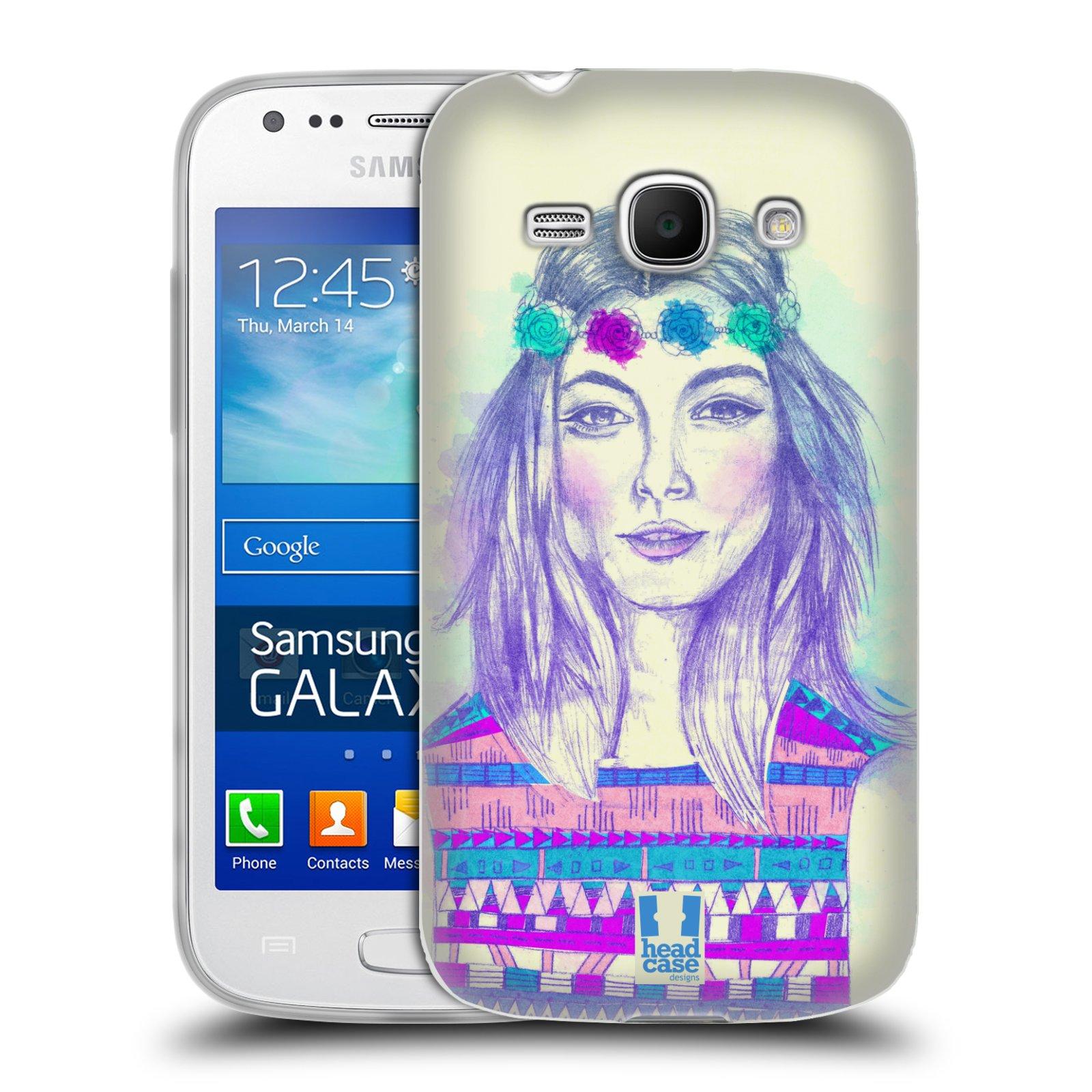 HEAD CASE silikonový obal na mobil Samsung Galaxy Ace 3 vzor Dívka dlouhé květinové vlasy HIPPIE modrá