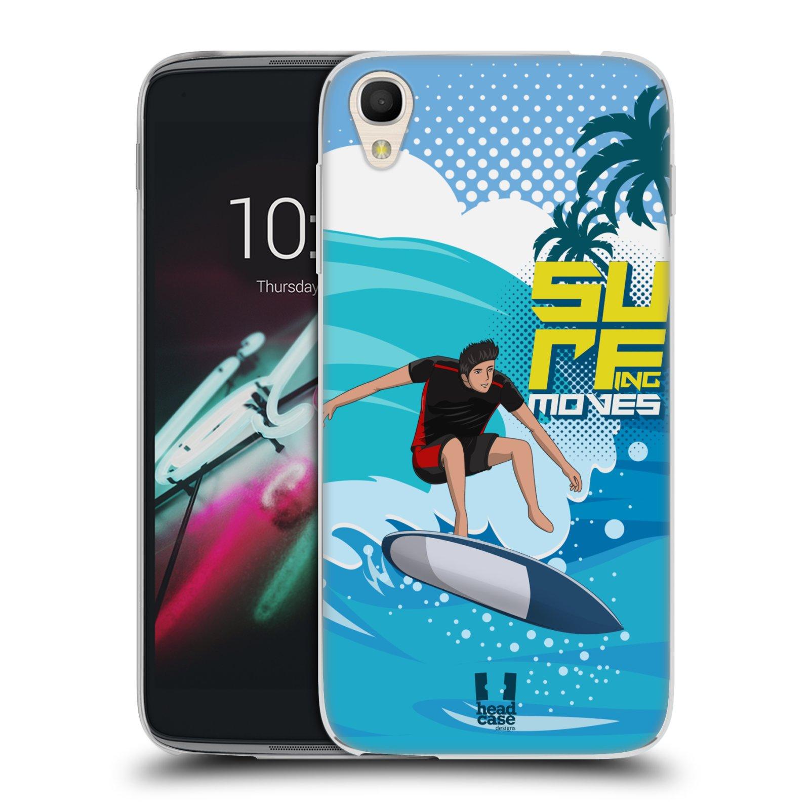 HEAD CASE silikonový obal na mobil Alcatel Idol 3 OT-6039Y (4.7) vzor Surfing modrá barva KICKFLIP
