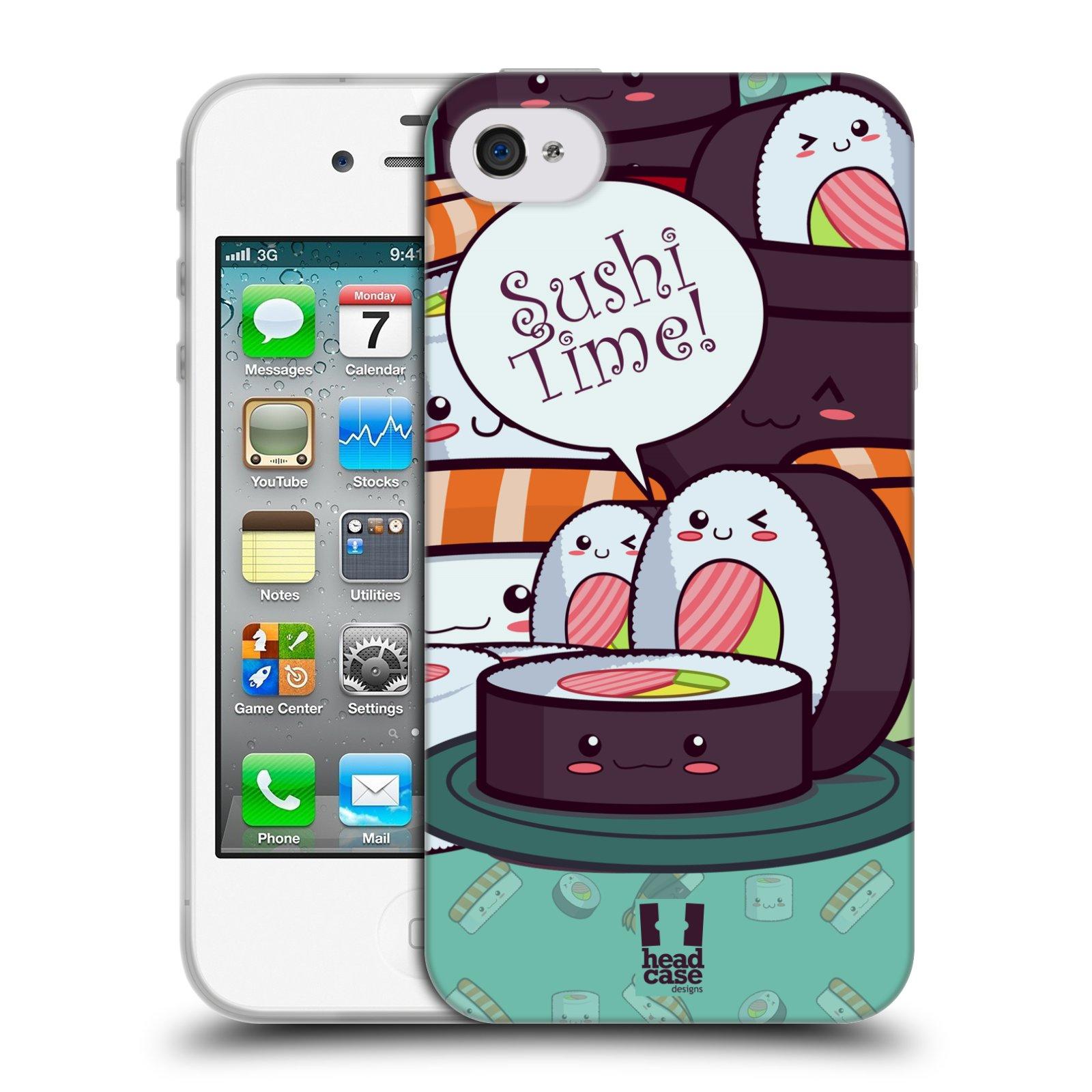 HEAD CASE silikonový obal na mobil Apple Iphone 4/4S vzor Čas na Sushi MAKI NORI