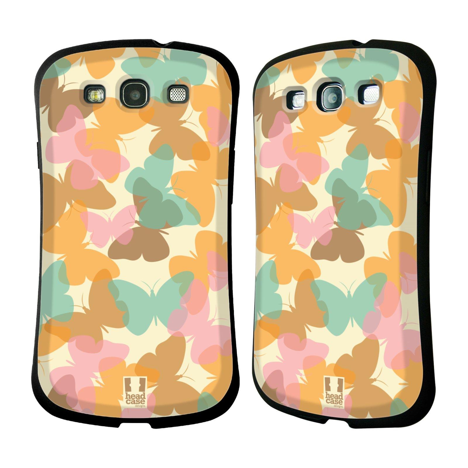 HEAD CASE silikon/plast odolný obal na mobil Samsung Galaxy S3 vzor Vzorkovaná malba MOTÝL