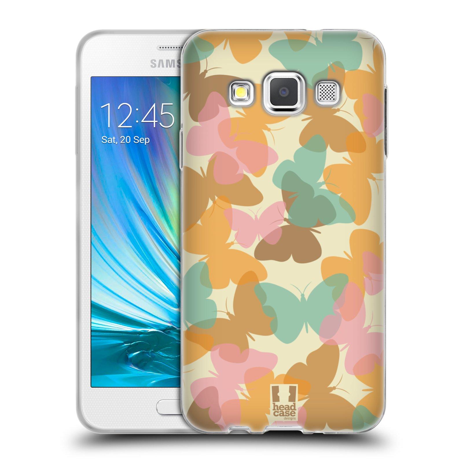 HEAD CASE silikonový obal na mobil Samsung Galaxy A3 vzor Vzorkovaná malba MOTÝL