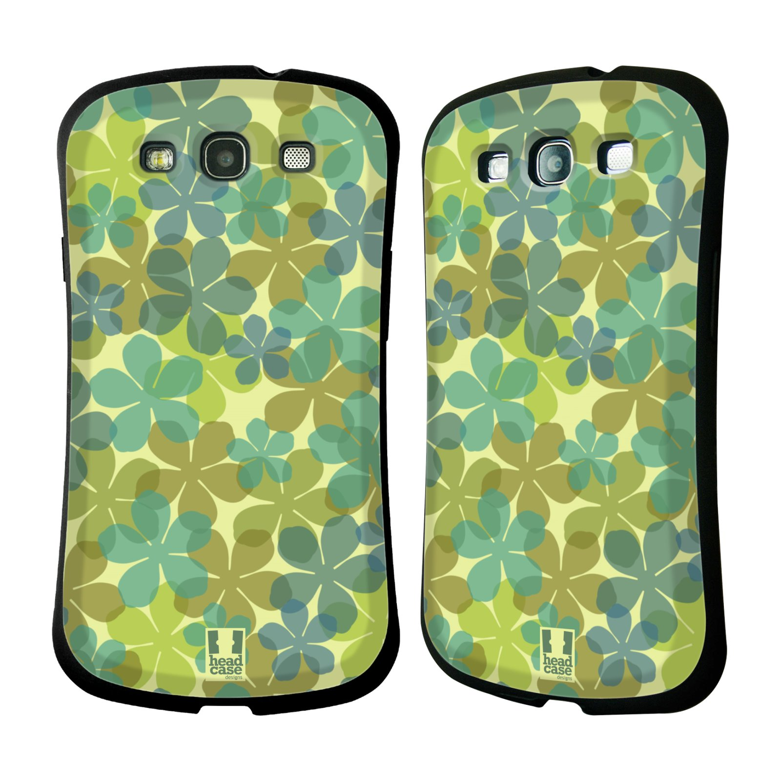 HEAD CASE silikon/plast odolný obal na mobil Samsung Galaxy S3 vzor Vzorkovaná malba ČTYŘLÍSTEK ZELENÁ