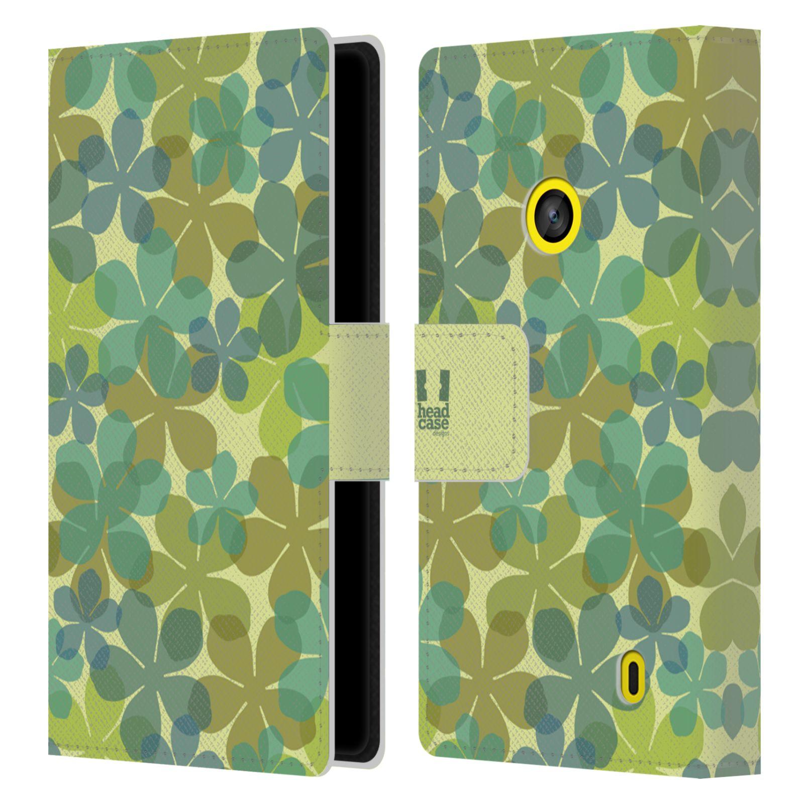 HEAD CASE Flipové pouzdro pro mobil NOKIA LUMIA 520 / 525 vzor prolínající se květina zelená