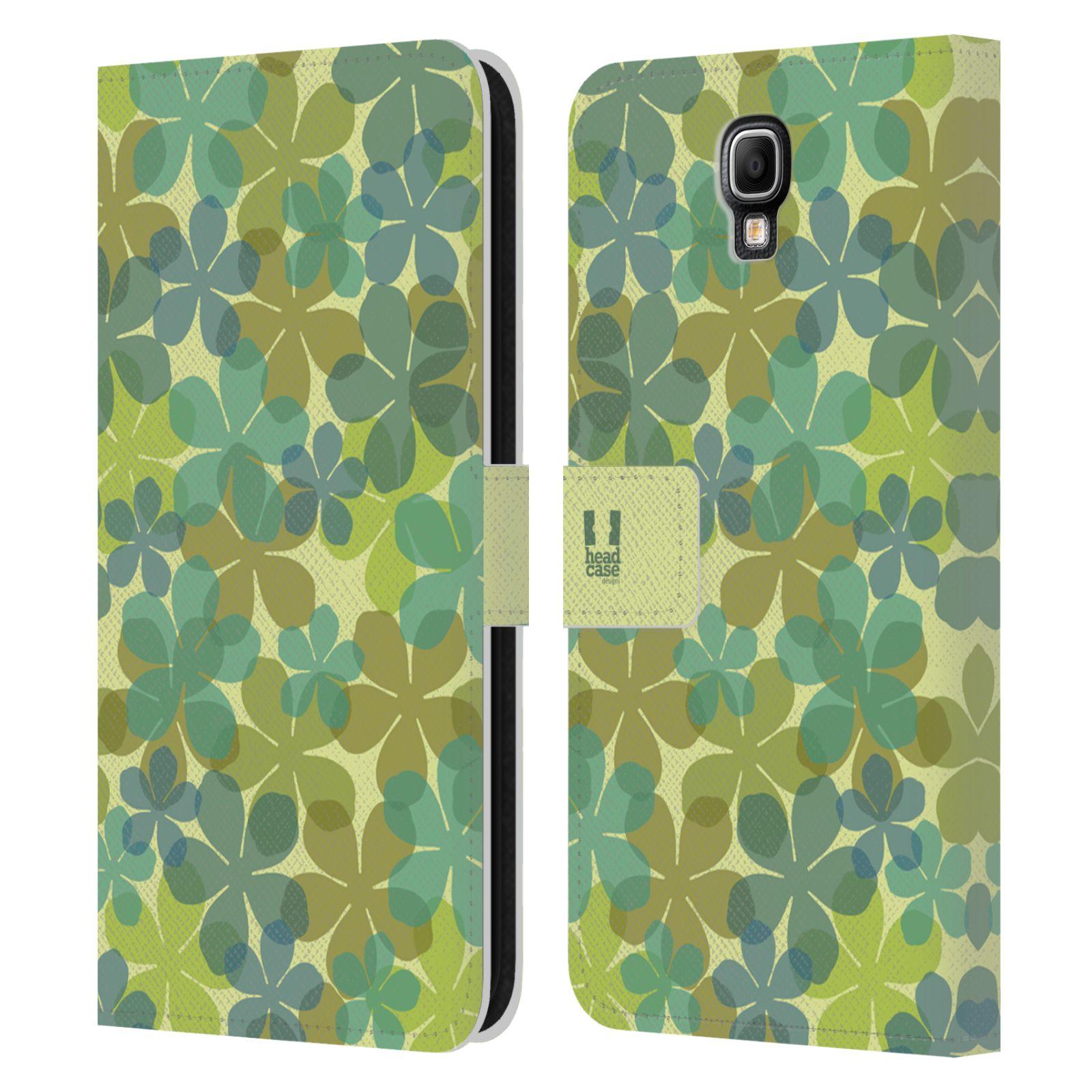 HEAD CASE Flipové pouzdro pro mobil Samsung Galaxy Note 3 NEO (N7505) vzor prolínající se květina zelená