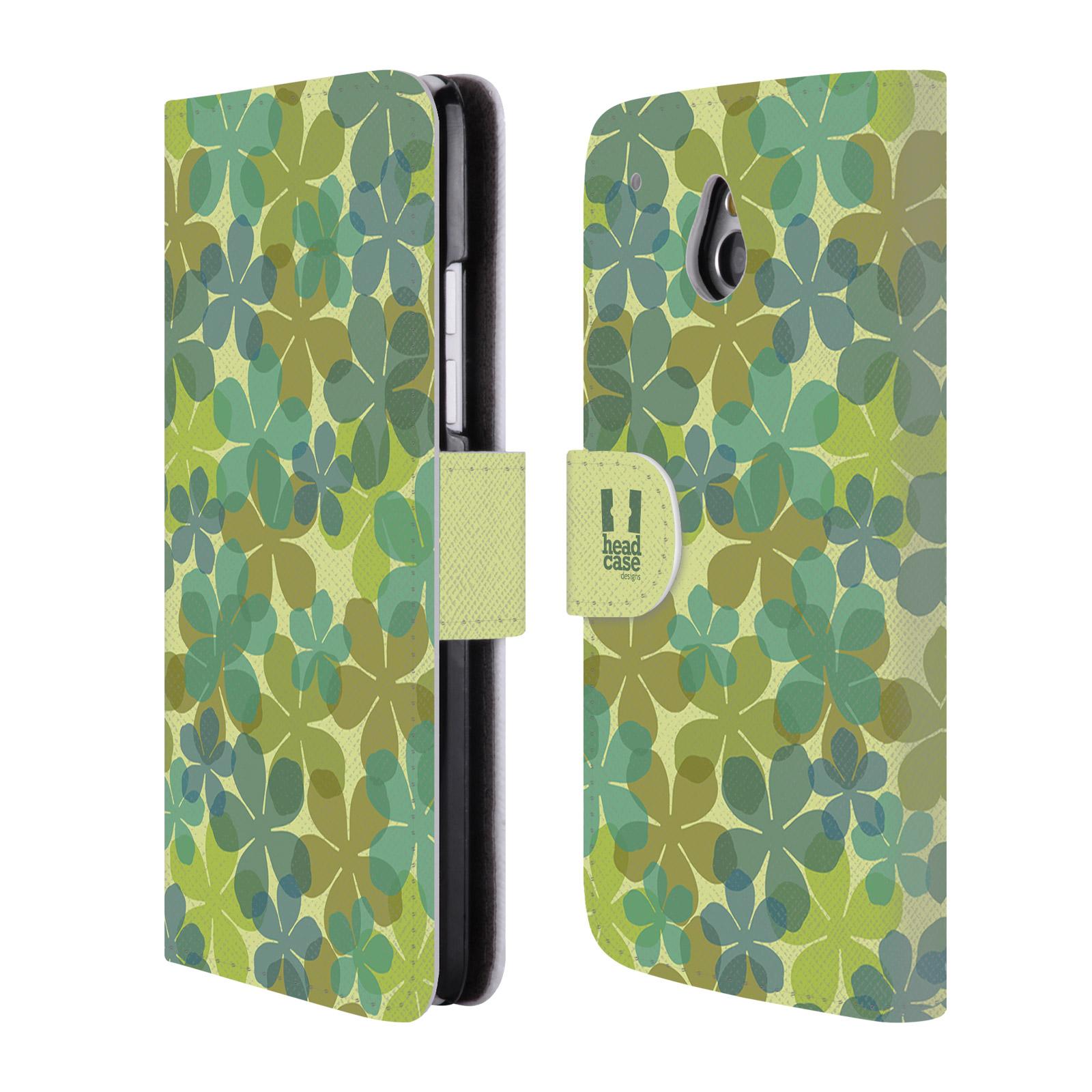HEAD CASE Flipové pouzdro pro mobil HTC ONE MINI (M4) vzor prolínající se květina zelená