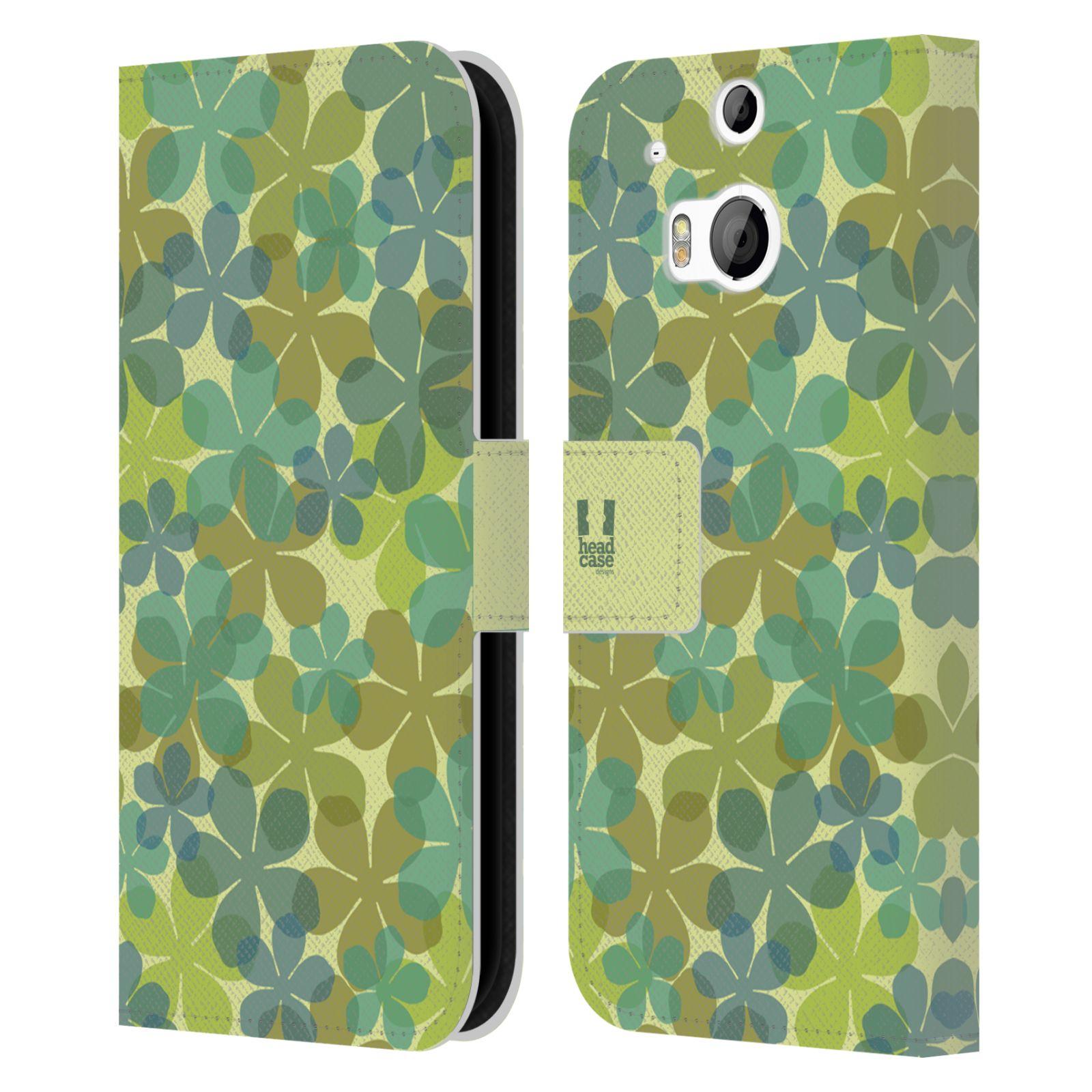 HEAD CASE Flipové pouzdro pro mobil HTC ONE (M8, M8s) vzor prolínající se květina zelená