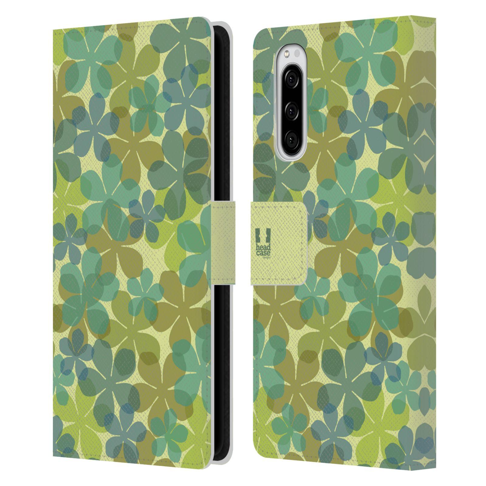 Pouzdro na mobil Sony Xperia 5 vzor prolínající se květina zelená