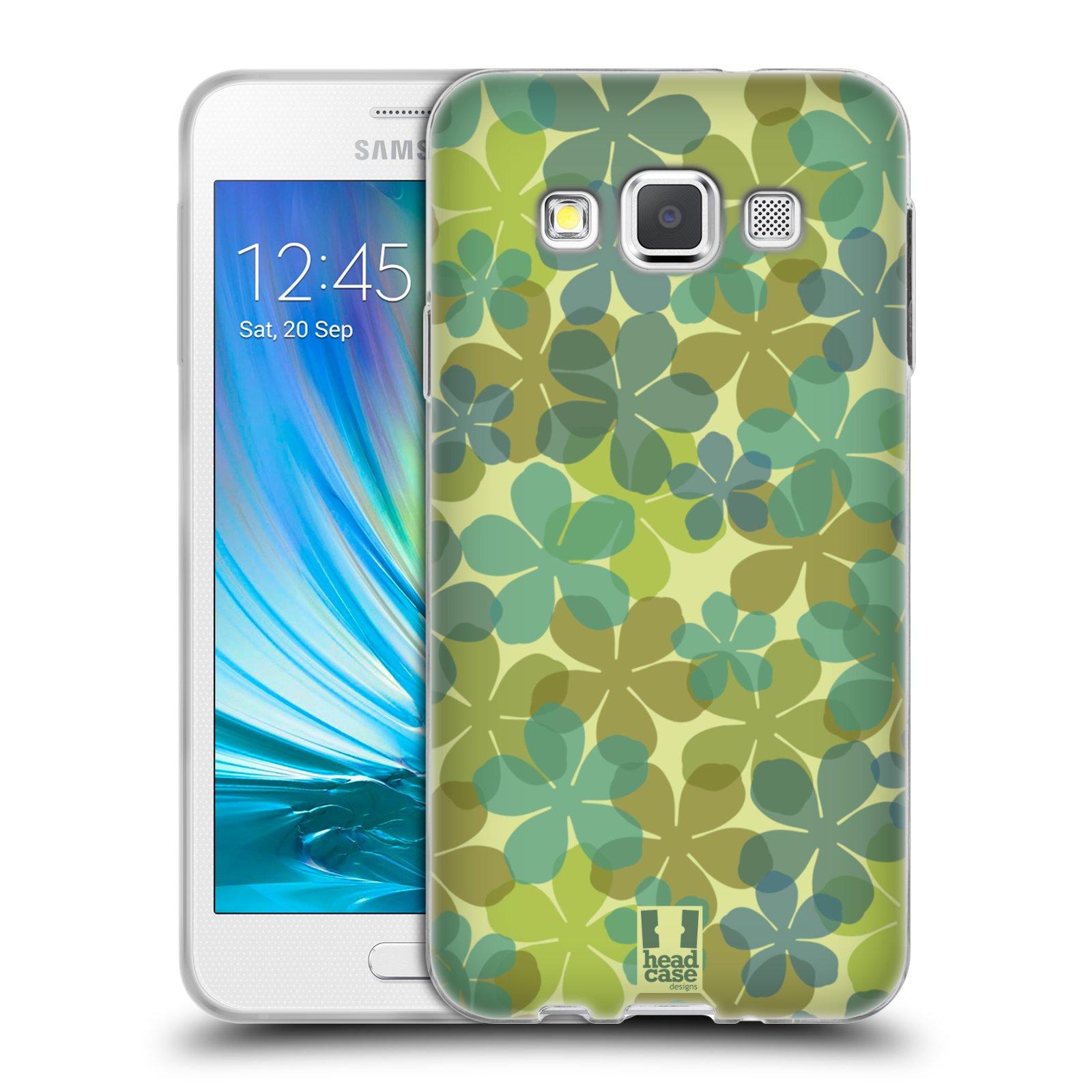 HEAD CASE silikonový obal na mobil Samsung Galaxy A3 vzor Vzorkovaná malba ČTYŘLÍSTEK ZELENÁ