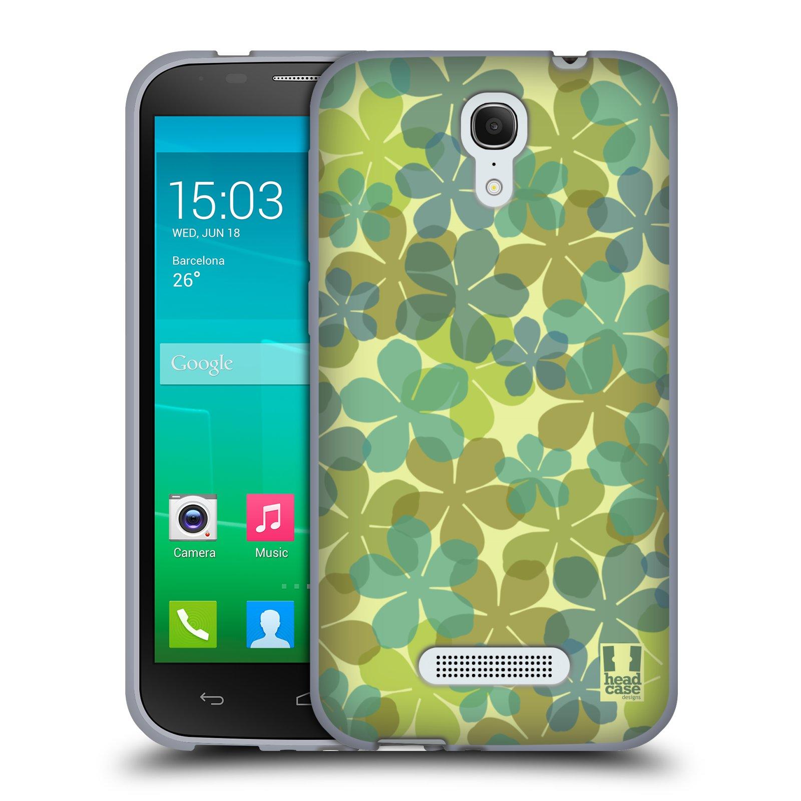 HEAD CASE silikonový obal na mobil Alcatel POP S7 vzor Vzorkovaná malba ČTYŘLÍSTEK ZELENÁ