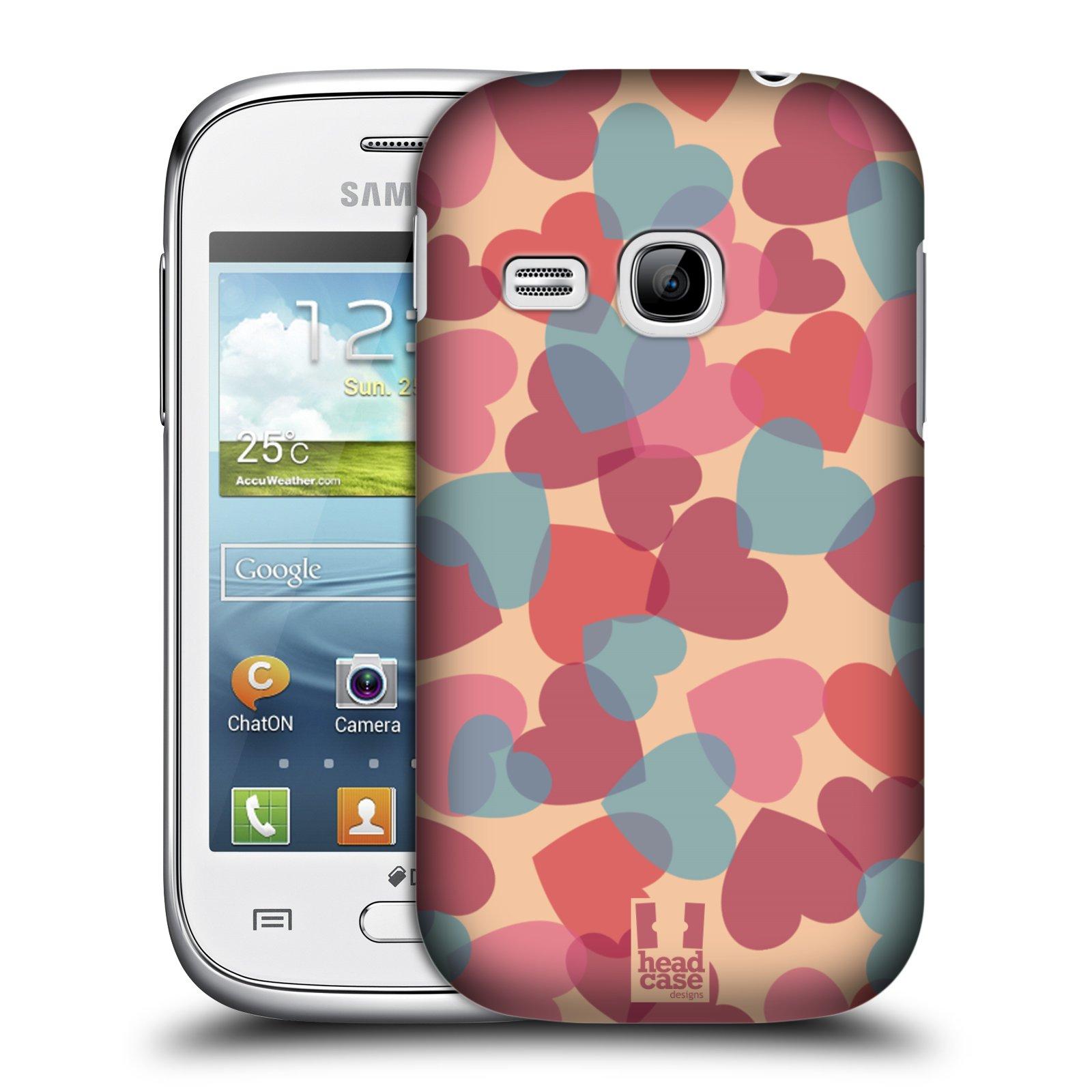 HEAD CASE plastový obal na mobil SAMSUNG Galaxy Young S6310 vzor Vzorkovaná malba SRDÍČKA RŮŽOVÁ