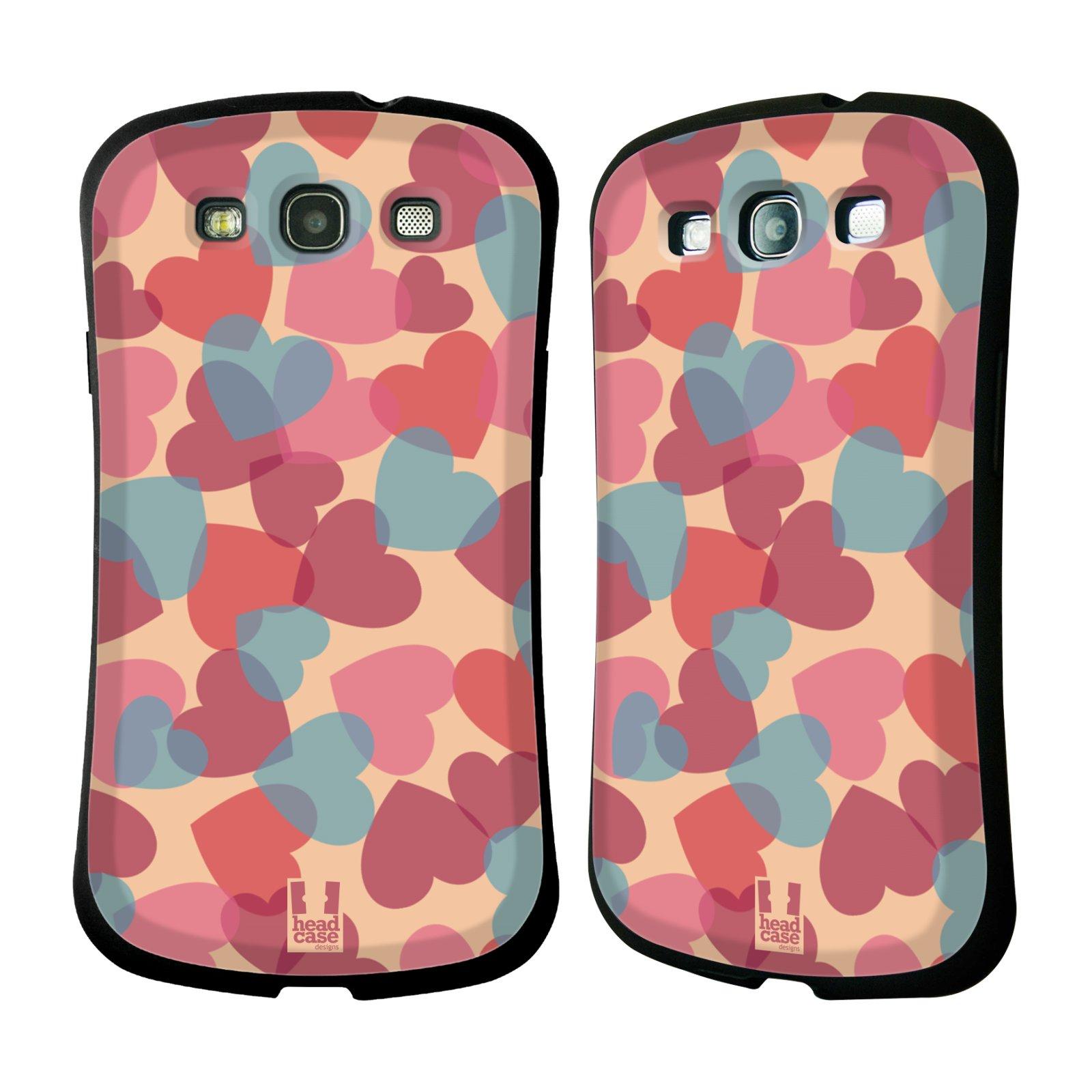 HEAD CASE silikon/plast odolný obal na mobil Samsung Galaxy S3 vzor Vzorkovaná malba SRDÍČKA RŮŽOVÁ