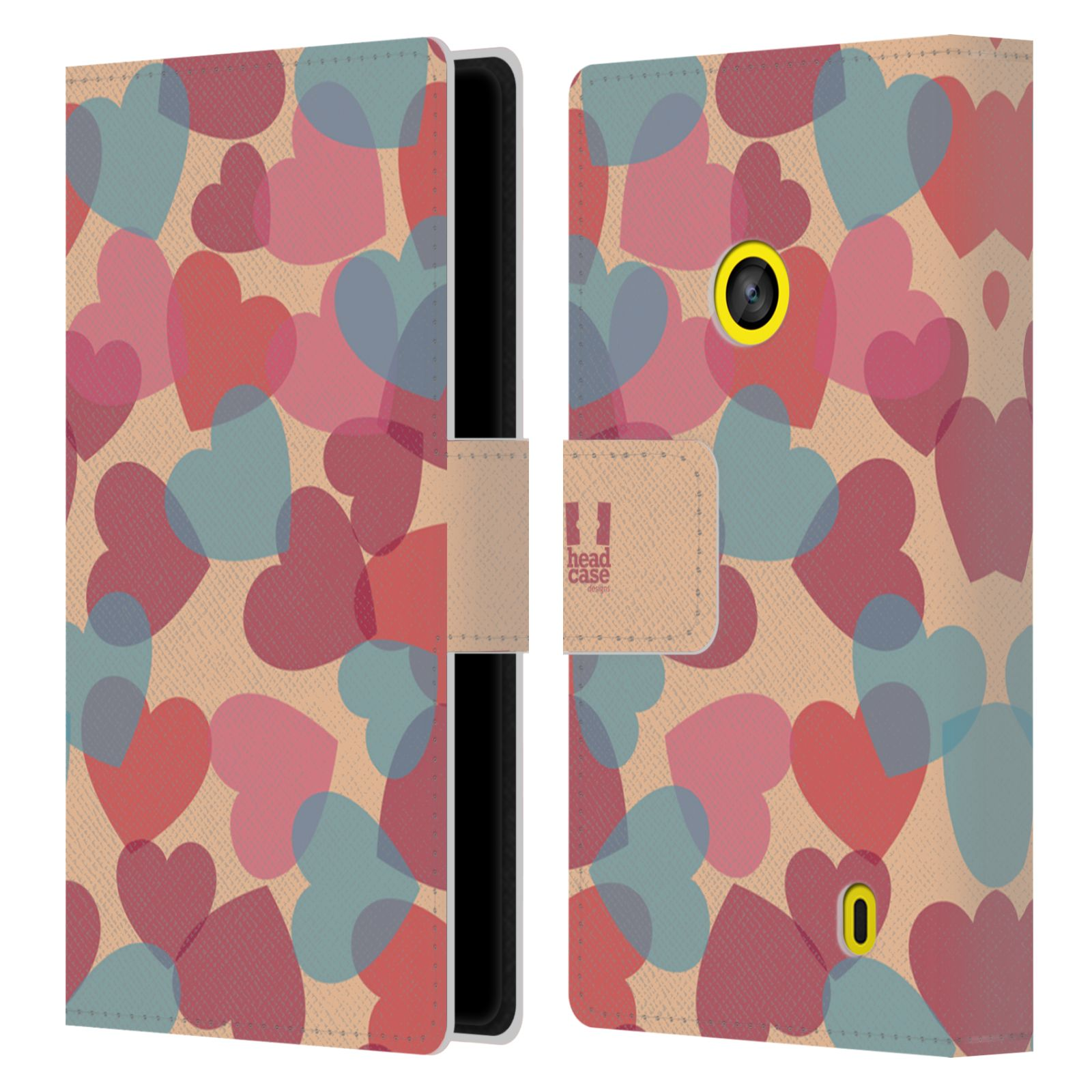 HEAD CASE Flipové pouzdro pro mobil NOKIA LUMIA 520 / 525 vzor prolínající se srdíčka, srdce, láska, růžová