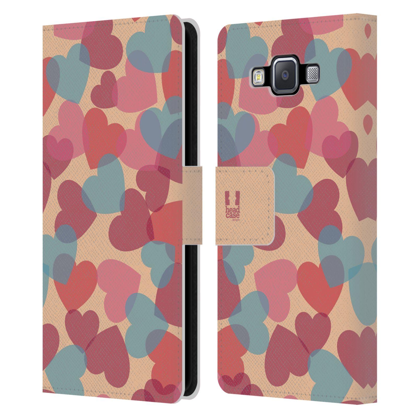 HEAD CASE Flipové pouzdro pro mobil Samsung Galaxy A5 vzor prolínající se srdíčka, srdce, láska, růžová