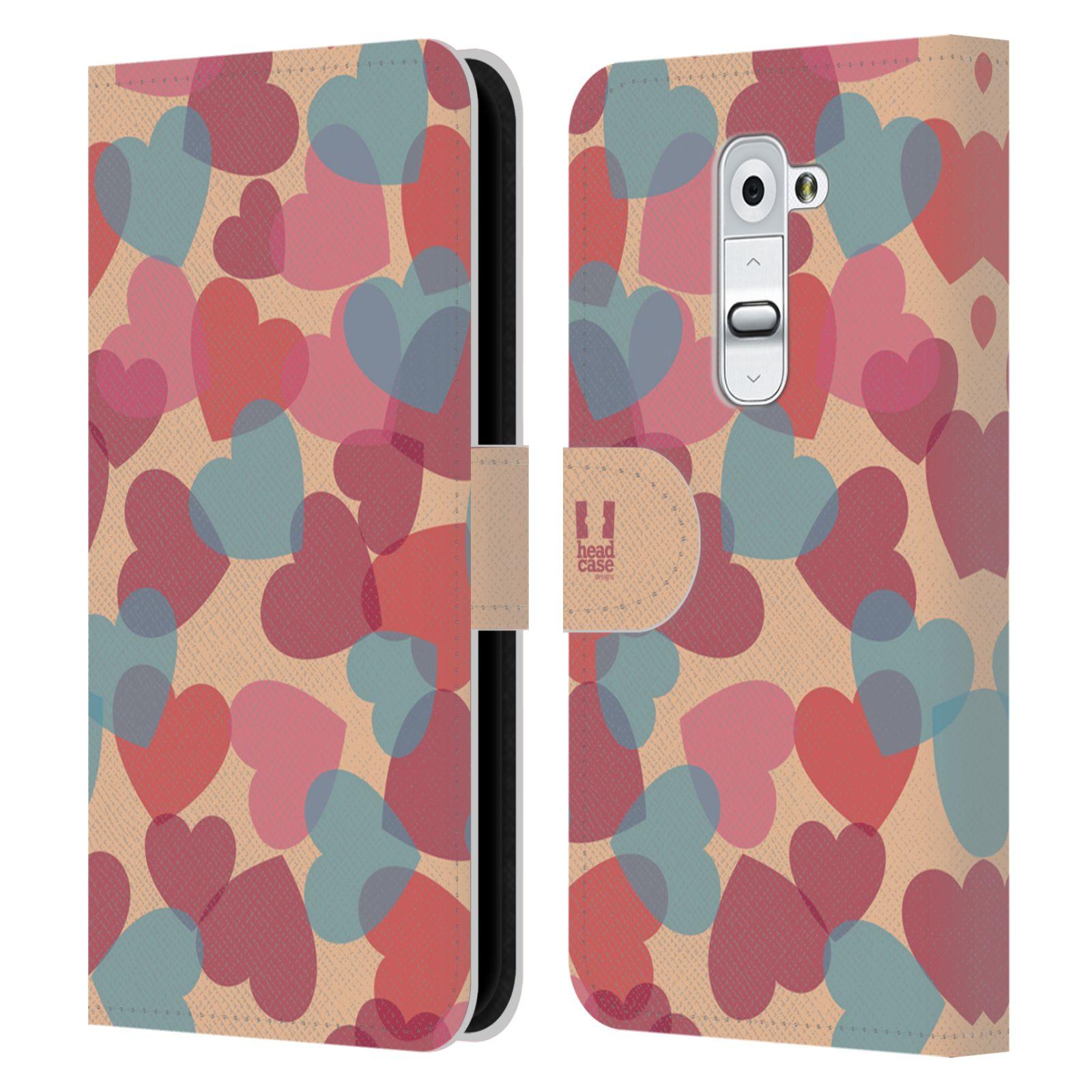 HEAD CASE Flipové pouzdro pro mobil LG G2 (D802) vzor prolínající se srdíčka, srdce, láska, růžová